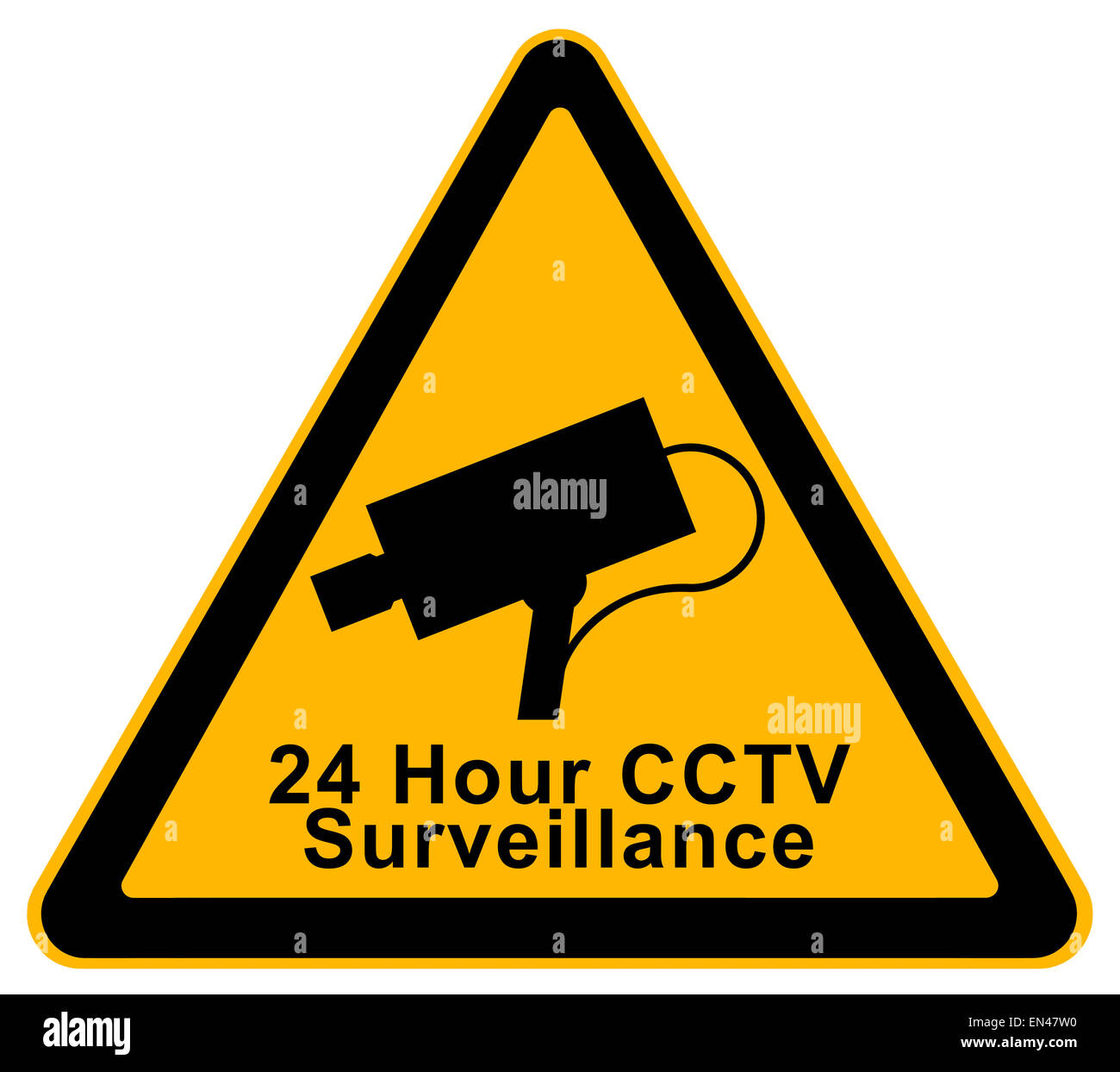 Yellow Triangle 24 Hour Surveillance Warning Sign Isolated on White Background. - Stock Image