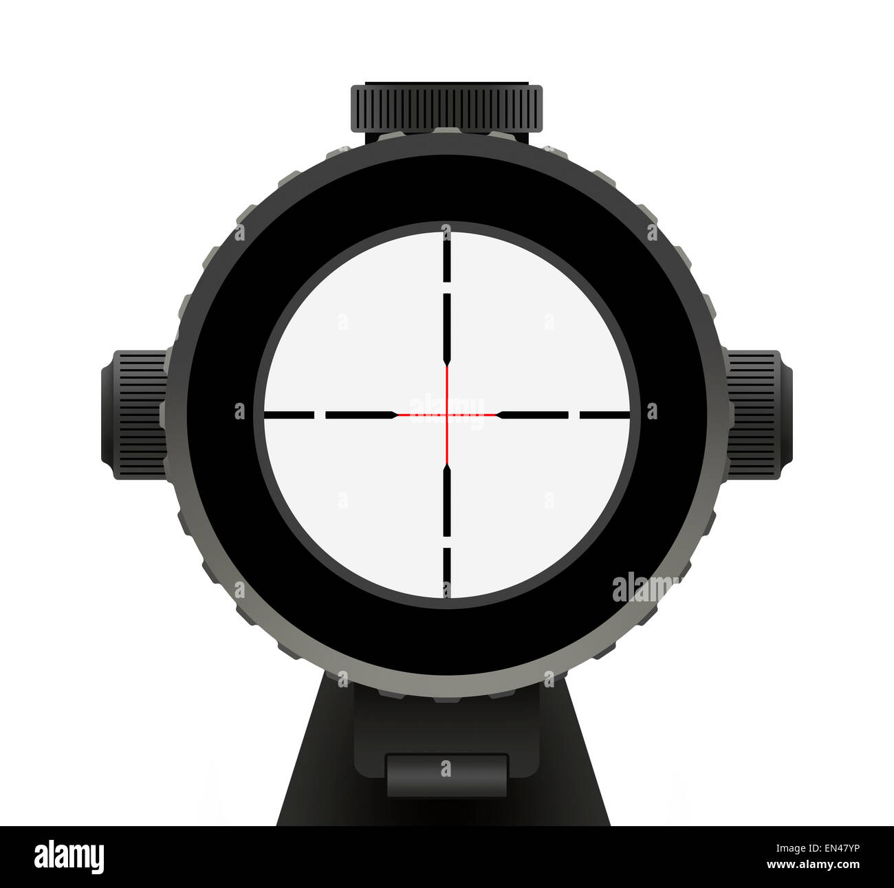 Riffle Scope with Red crosshair Isolated on White Background. - Stock Image