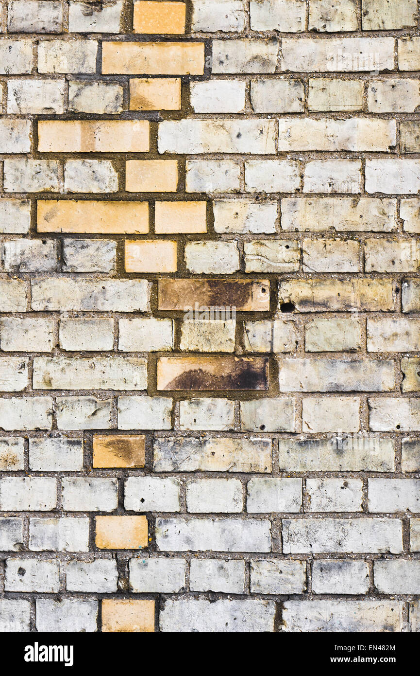 Pattern of newer and older bricks in a wall Stock Photo
