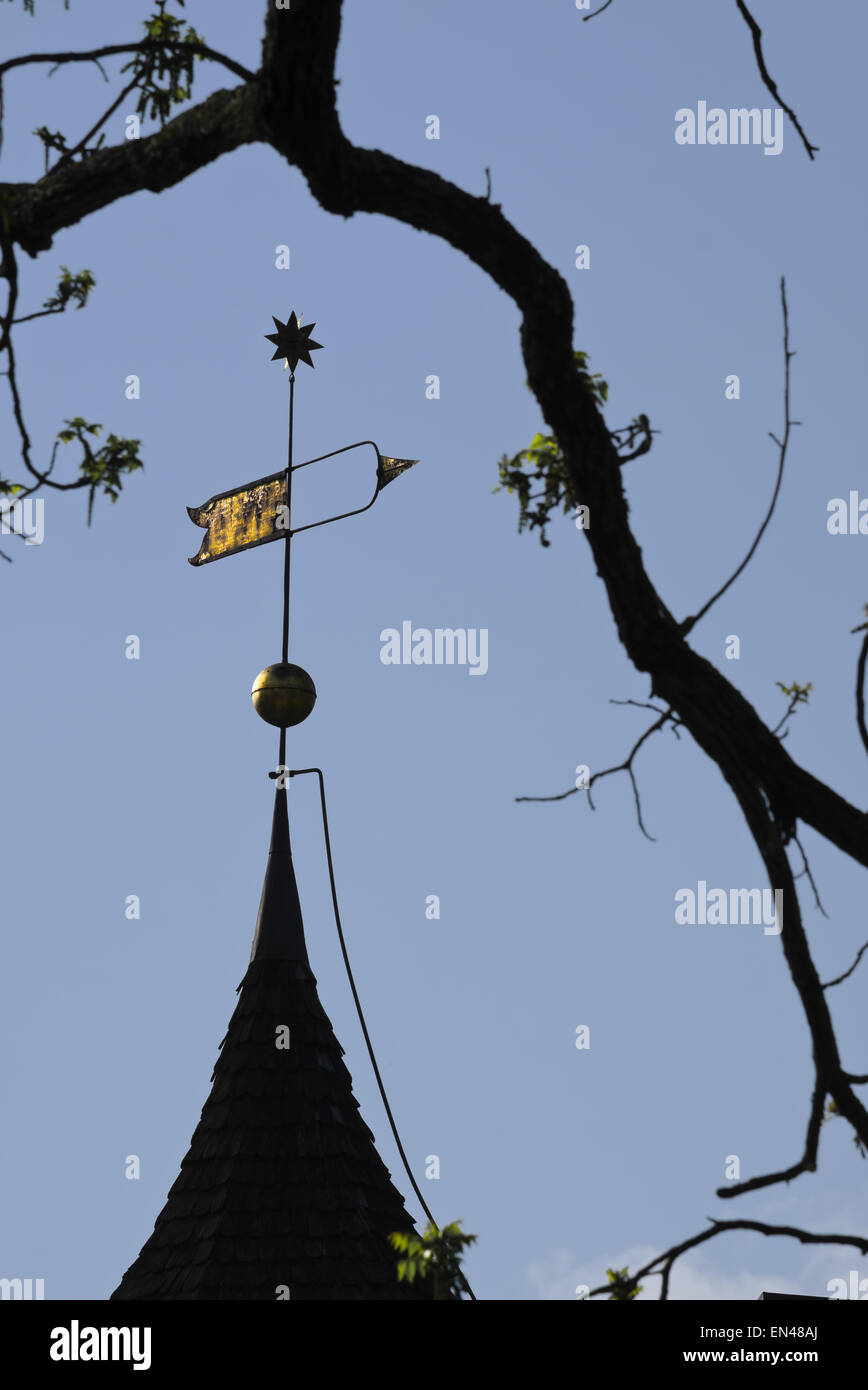 weathervane with moravian star on top. At the building Gemeinhaus at Bethabara Park in Winston Salem. Gemeinhaus - Stock Image