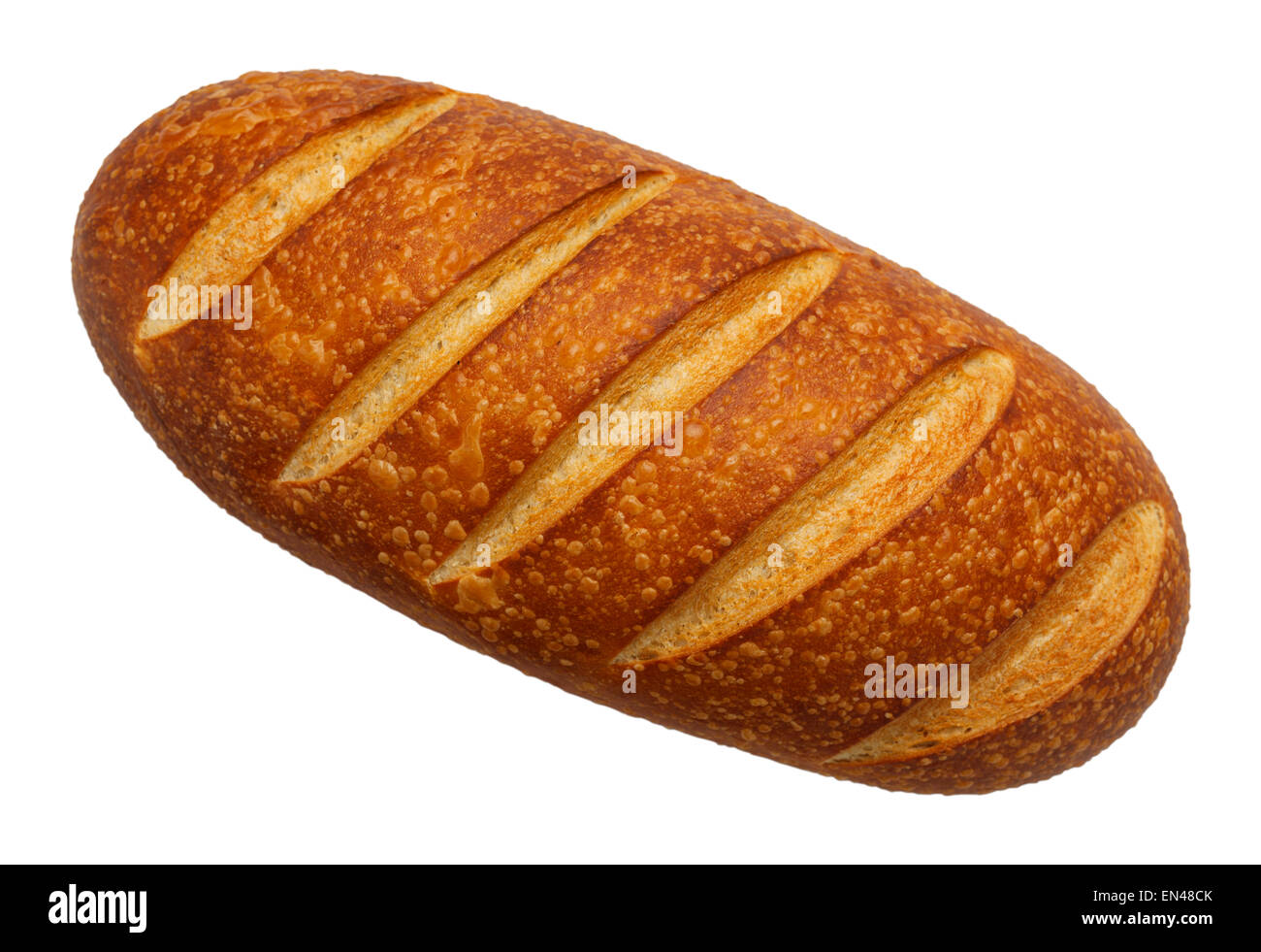 Large Loaf Of French Bread Top View Isolated On White Background