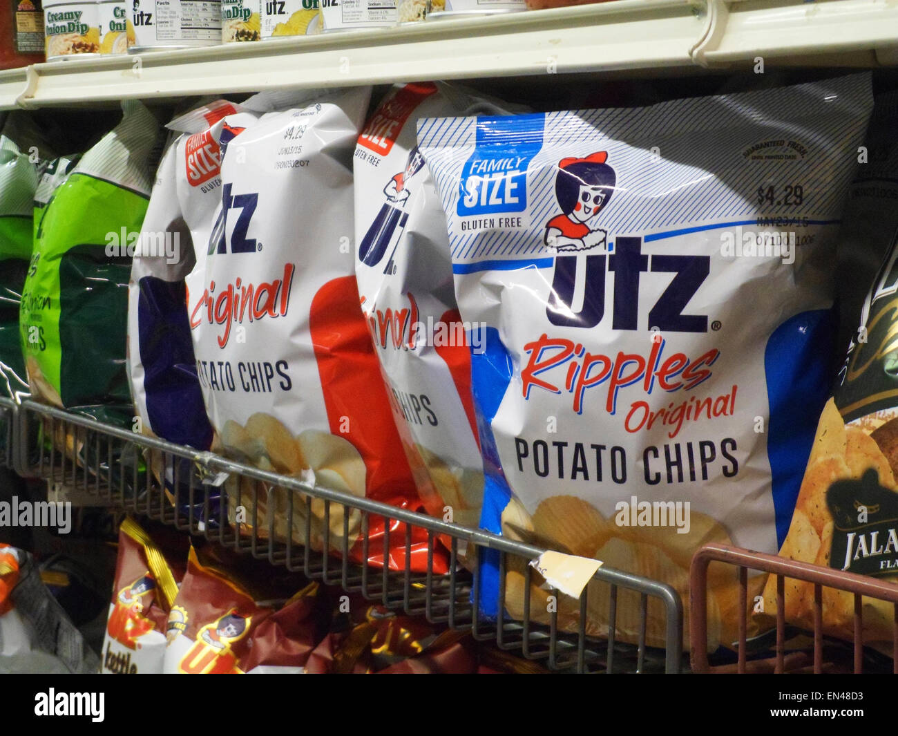 A display of Utz brand potato chips are seen in a