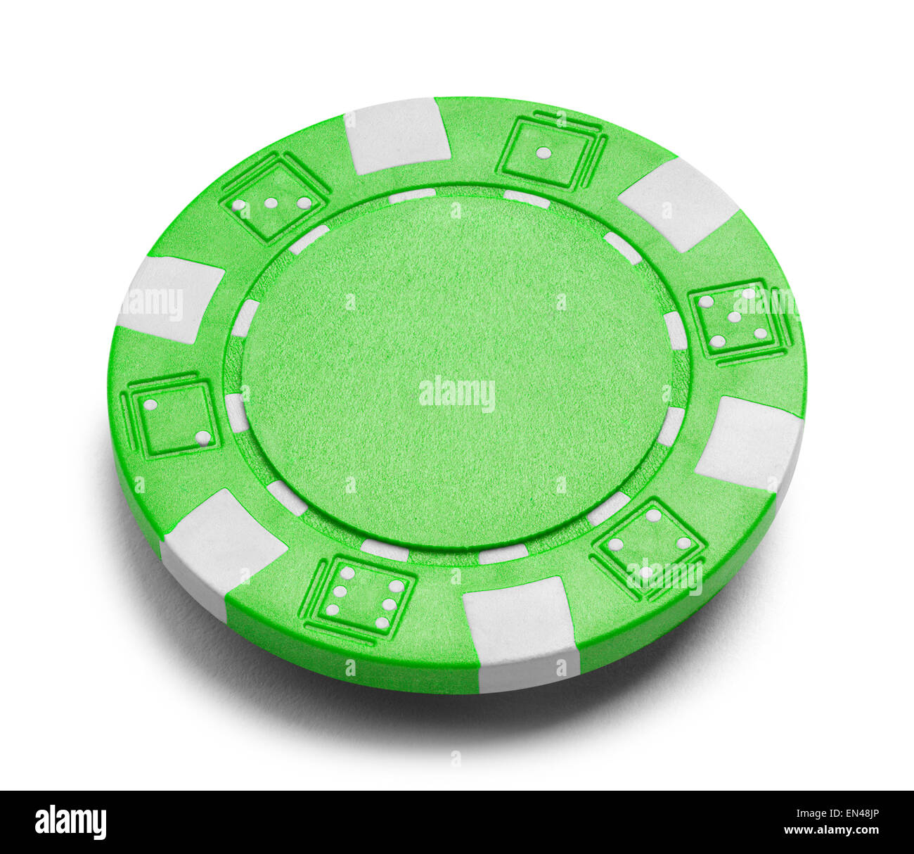 Green Poker Chip with Copy Space Isolated on a White Background. - Stock Image