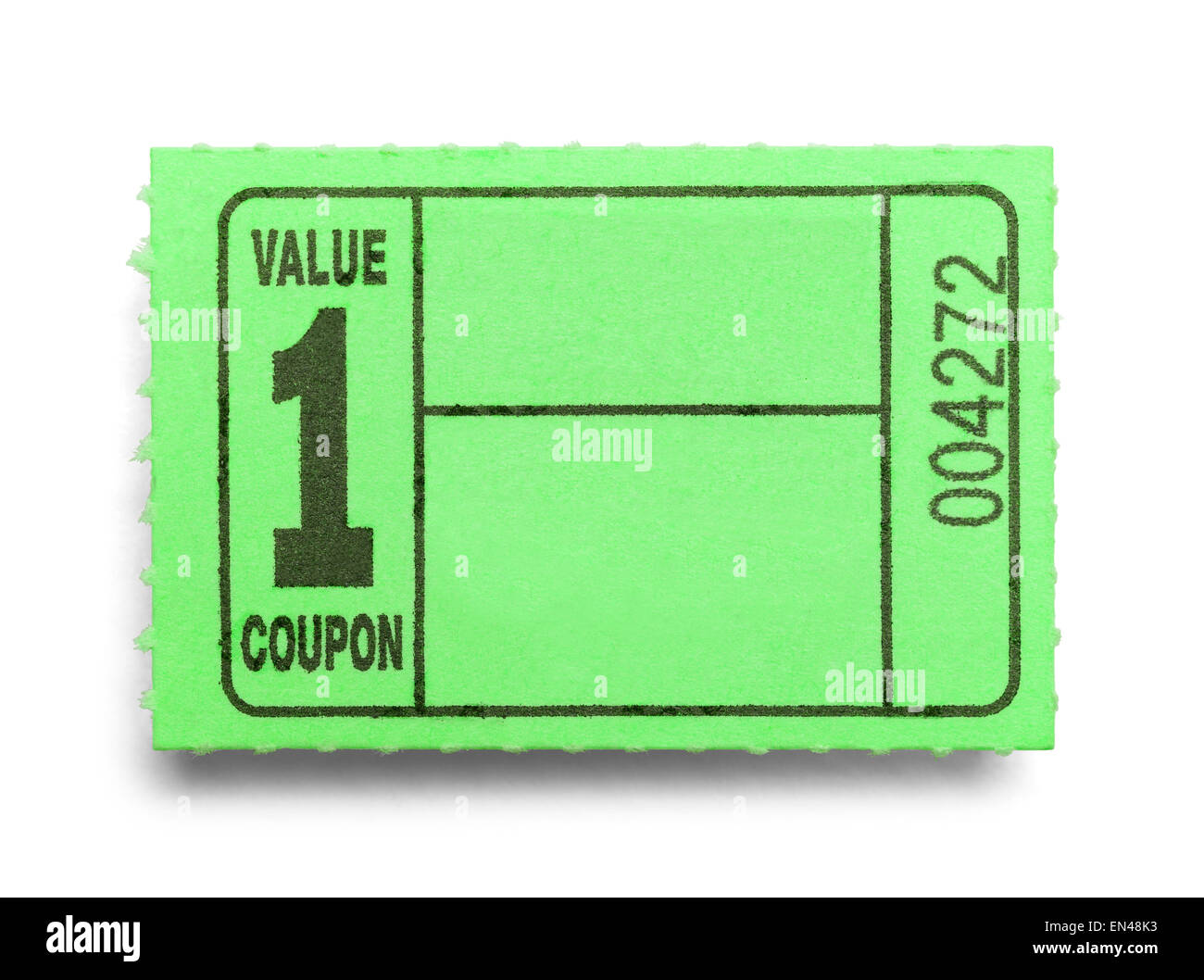 Small Green Coupon Ticket Isolated on a White Background. - Stock Image