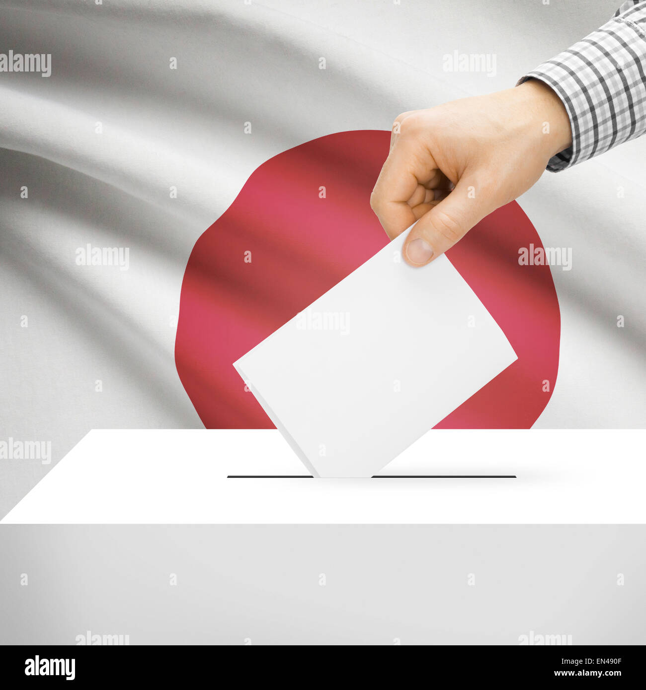 Ballot box with national flag on background series - Japan Stock Photo