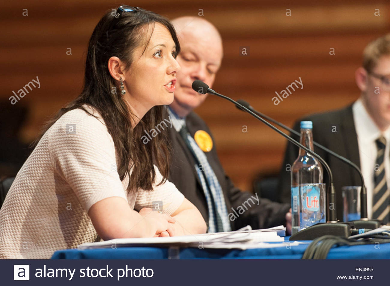 Amelie Boleyn, Green Party candidate for Sevenoaks, attending a question time event at Sevenoaks School. - Stock Image
