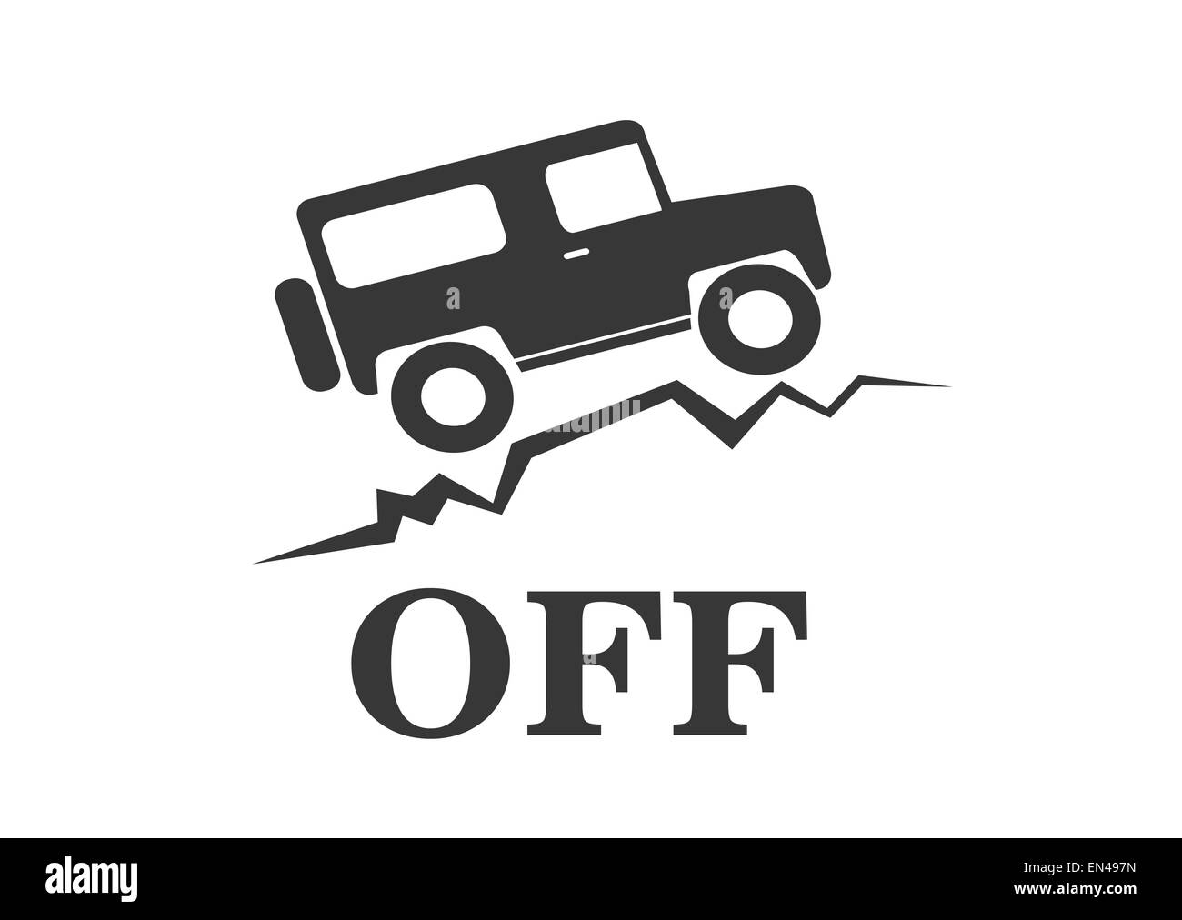 vintage old offroad sign - vector animation - Stock Image