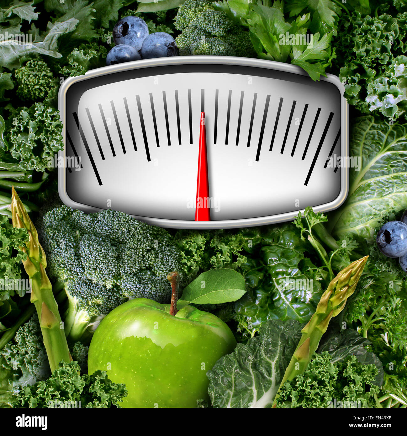 Fruits and vegetables weight scale concept as a group of natural food as broccoli apple blue berries and green leafy - Stock Image