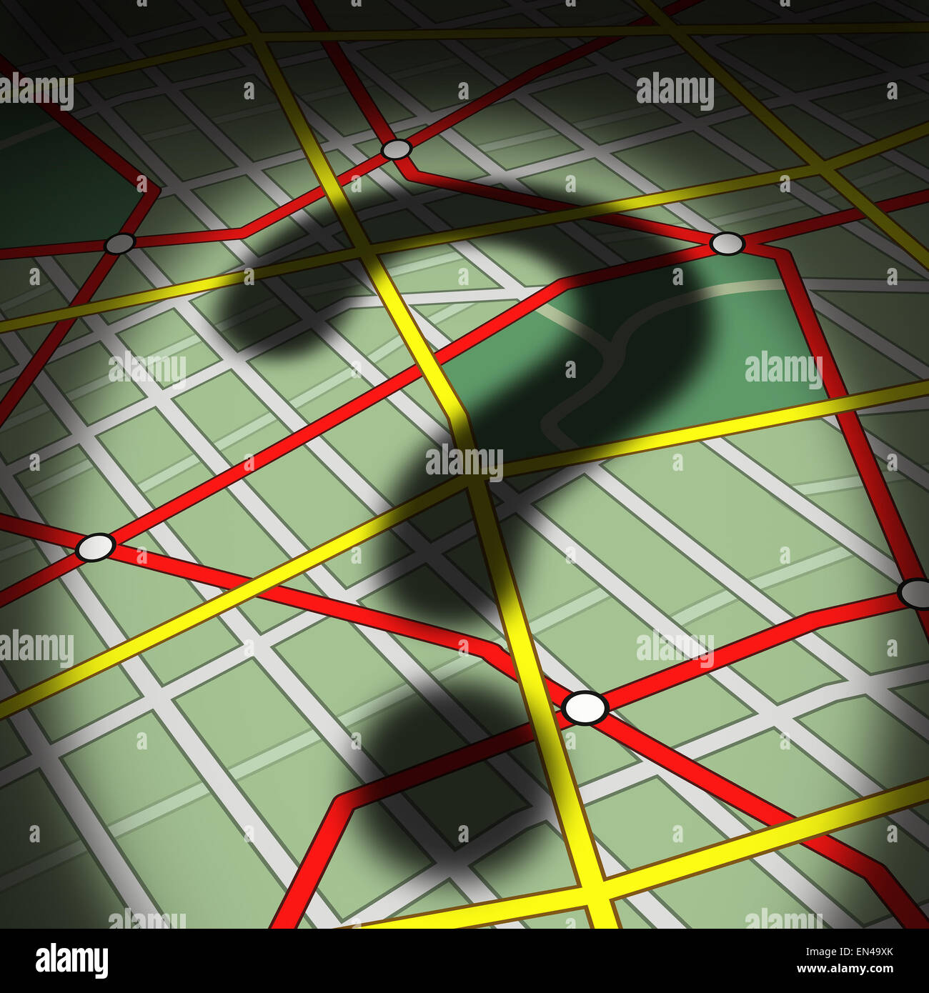 Map questions concept as a city street topograghic diagram with a cast shadow of a question mark as a busiiness - Stock Image