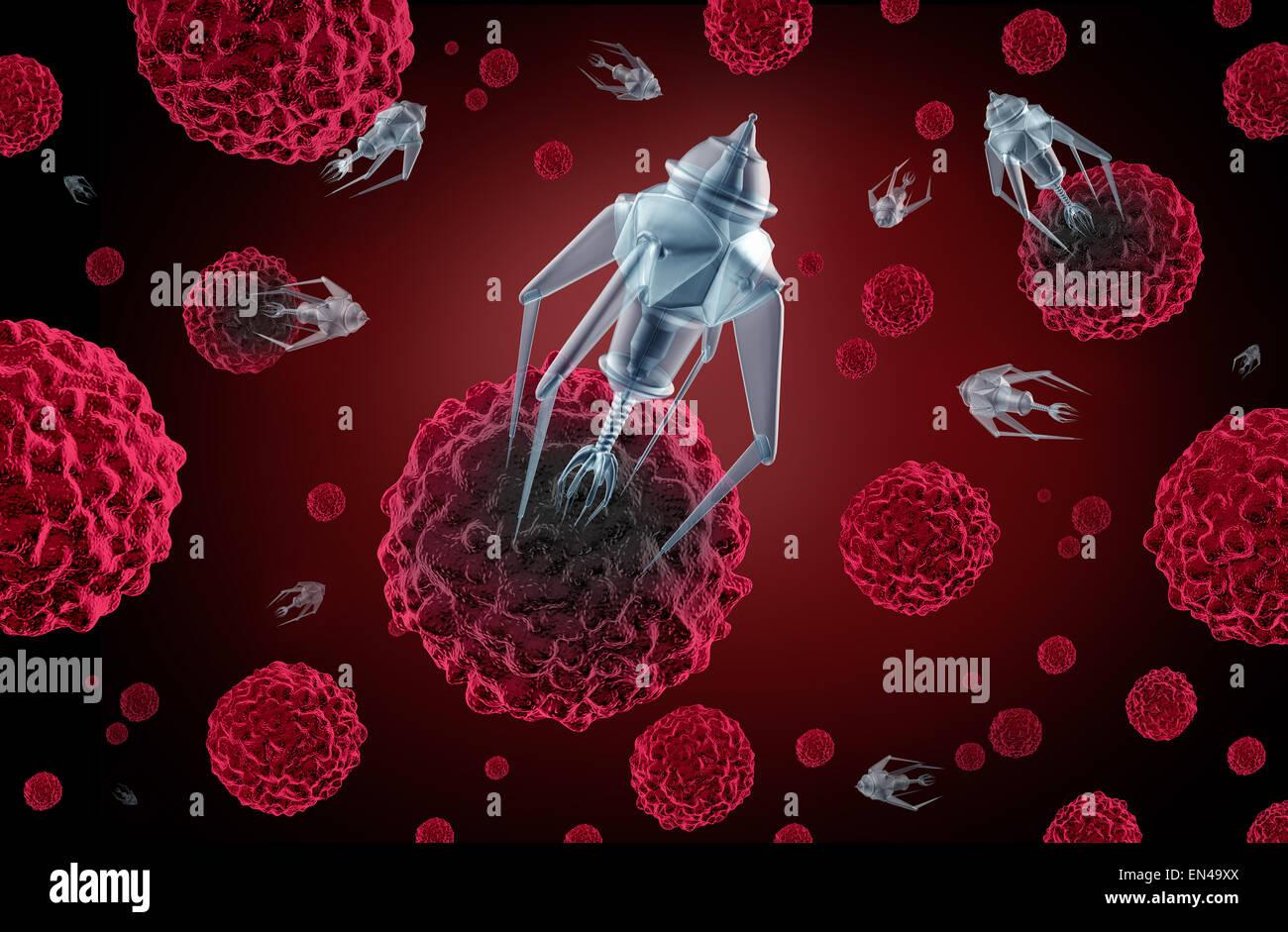 Nanotechnology medicine concept as a group of microscopic nano robots or nanobots programed to kill cancer cells - Stock Image