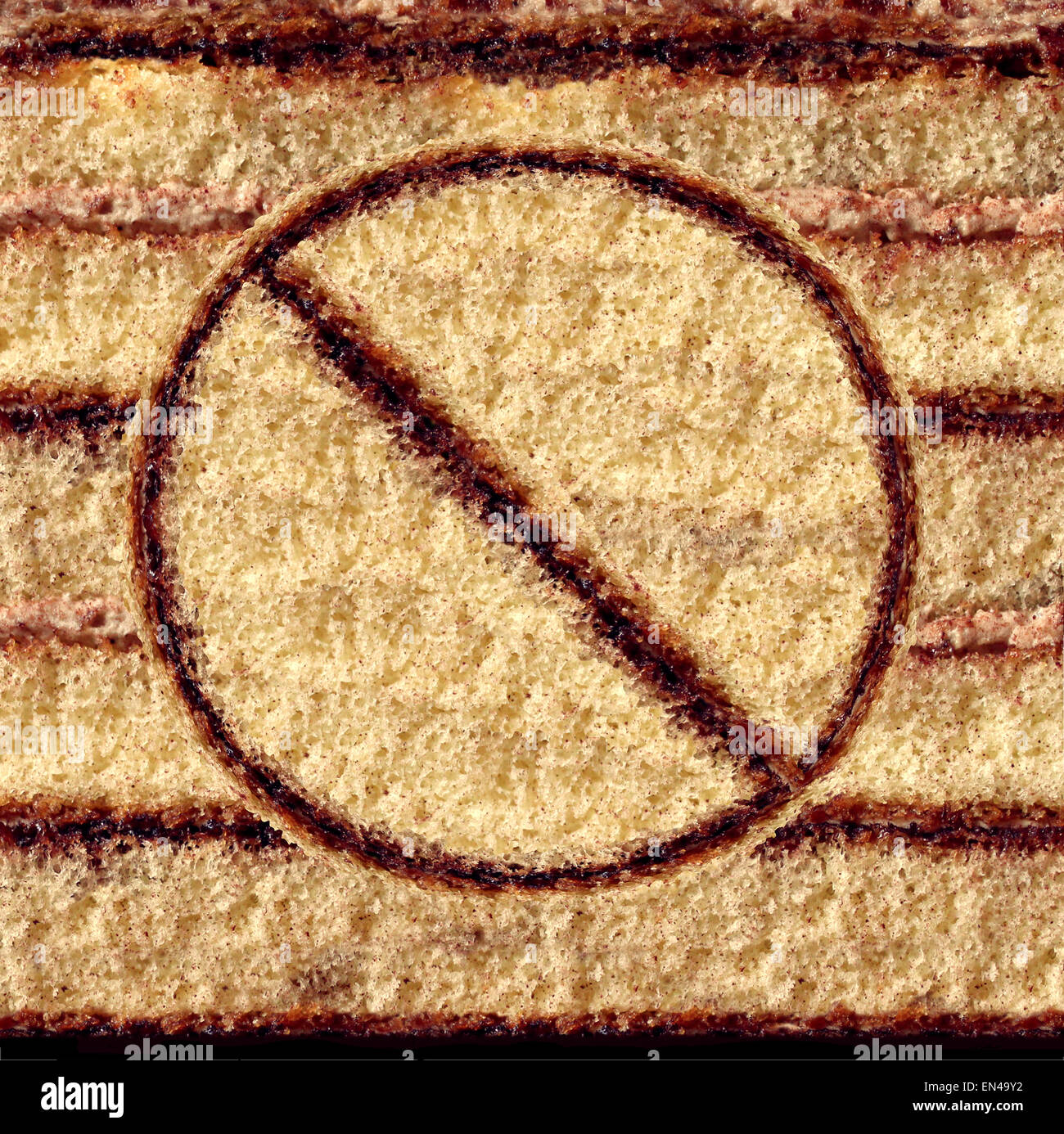 No cake symbol as an eating sweets concept of self control and craving restraint for a healthy food lifestyle by - Stock Image