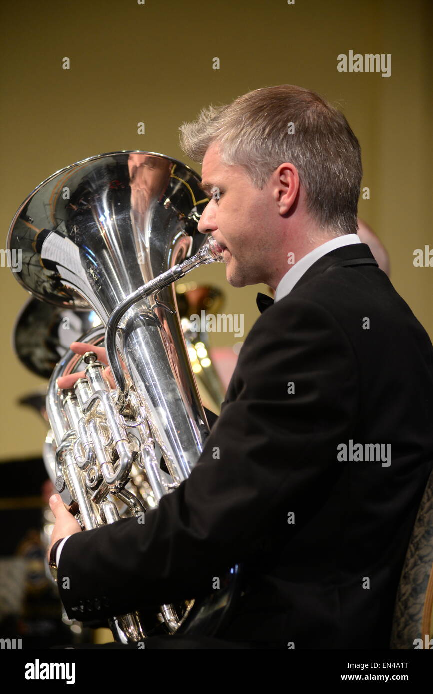 Band member Michael Dodd: Grimethorpe Colliery Band in concert, Barnsley, UK. Picture: Scott Bairstow/Alamy - Stock Image