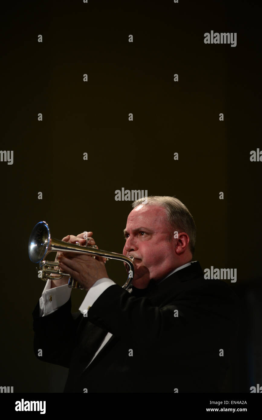 Band member Kevin Crockford: Grimethorpe Colliery Band in concert, Barnsley, UK. Picture: Scott Bairstow/Alamy - Stock Image