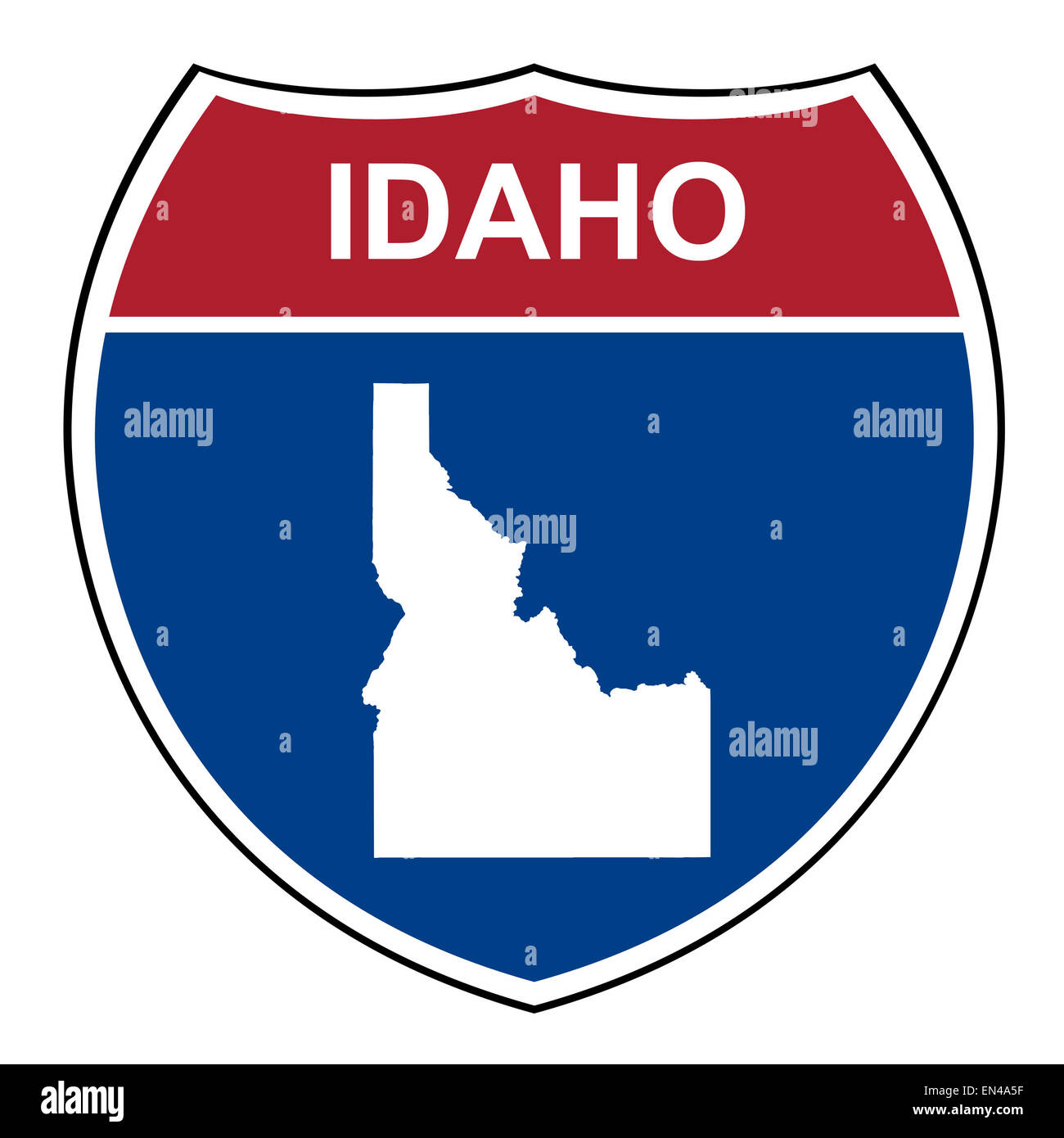 Idaho American interstate highway road shield isolated on a white background. - Stock Image