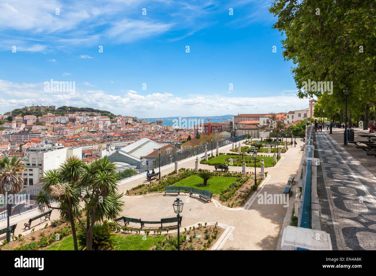 Lisbon rooftop from Sao Pedro de Alcantara viewpoint - Miradouro in Portugal - Stock Image