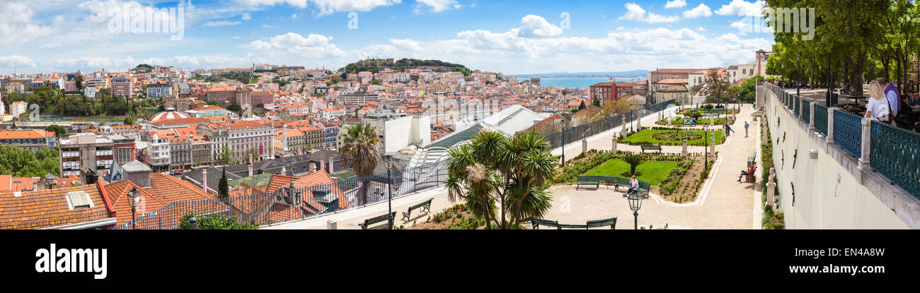 Panoramic view of Lisbon rooftop from Sao Pedro de Alcantara viewpoint - Miradouro in Portugal - Stock Image