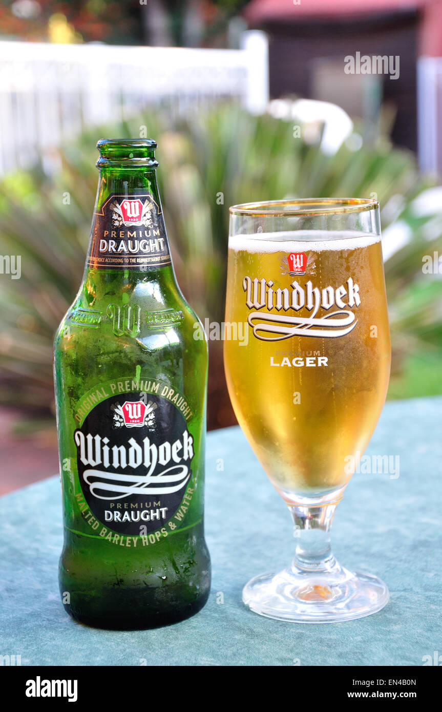 Bottle and glass of Windhoek Premium Draught beer, Johannesburg, Gauteng Province, Republic of South Africa - Stock Image