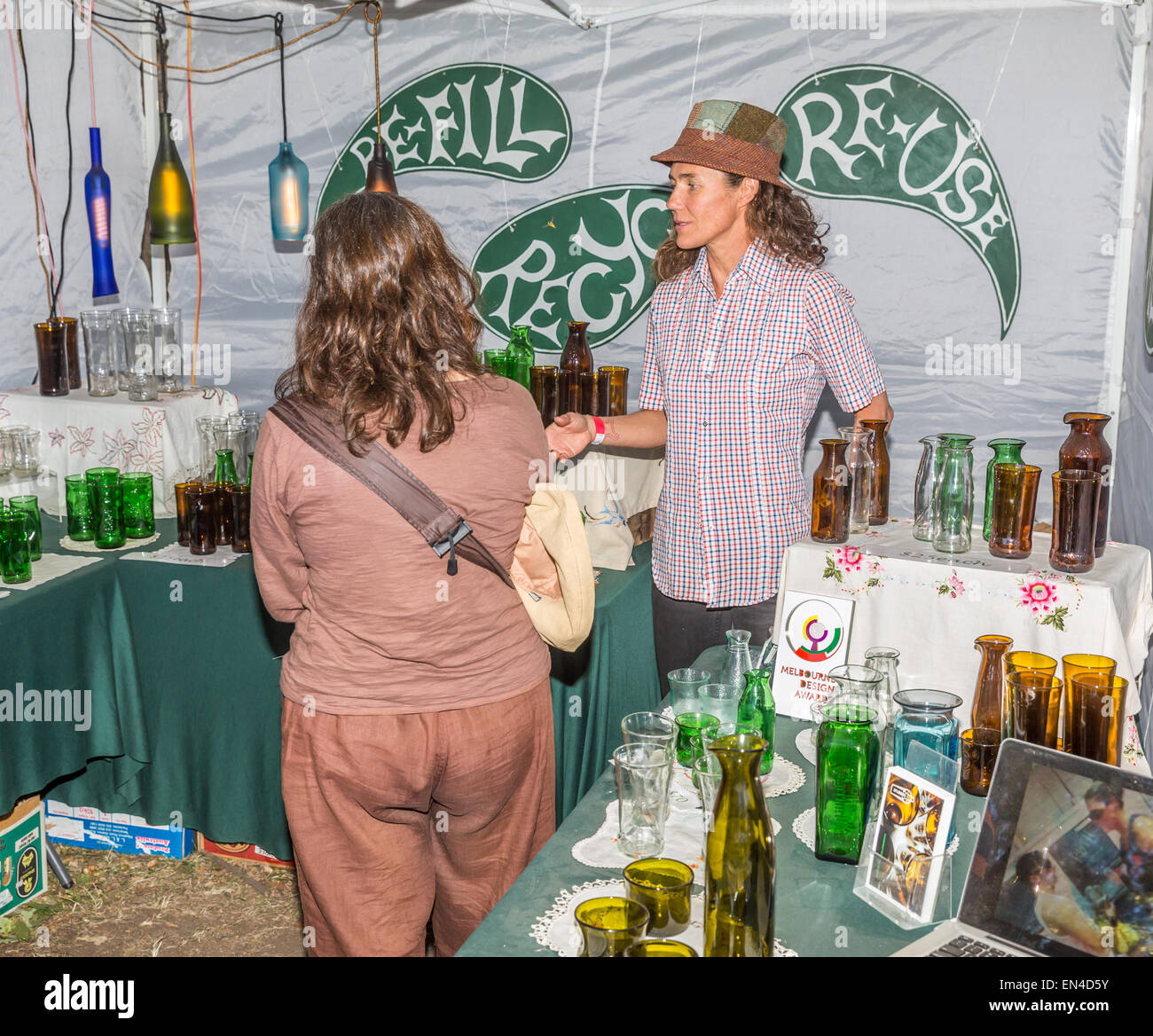 Refill, Reuse and Recycle demonstration at the Lost Crafts Fair, Kyneton, Vic Australia - Stock Image