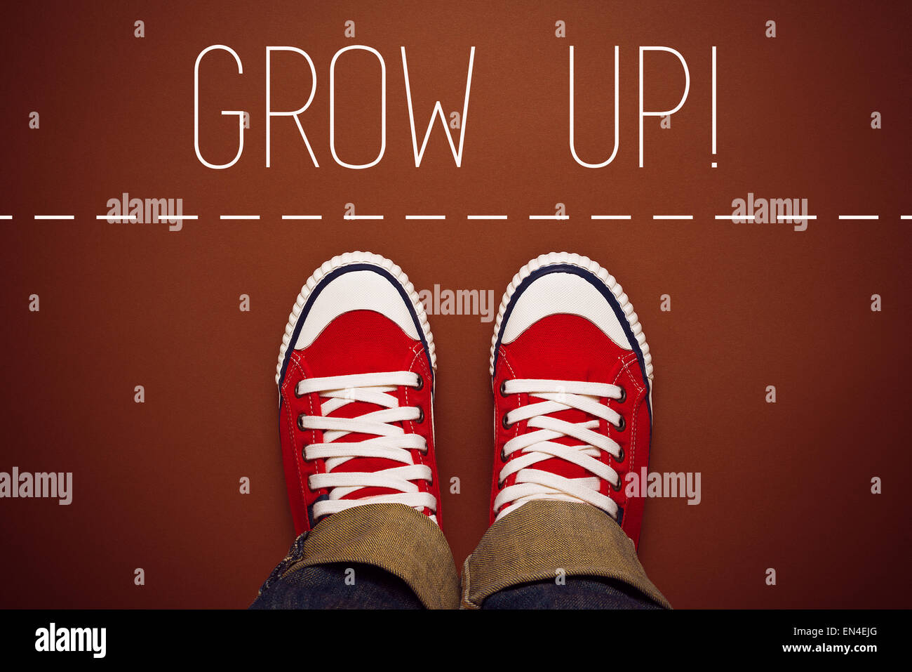 Grow Up Reminder for Young Person in Red Sneakers about to make a Step and Join the Party, Top View - Stock Image