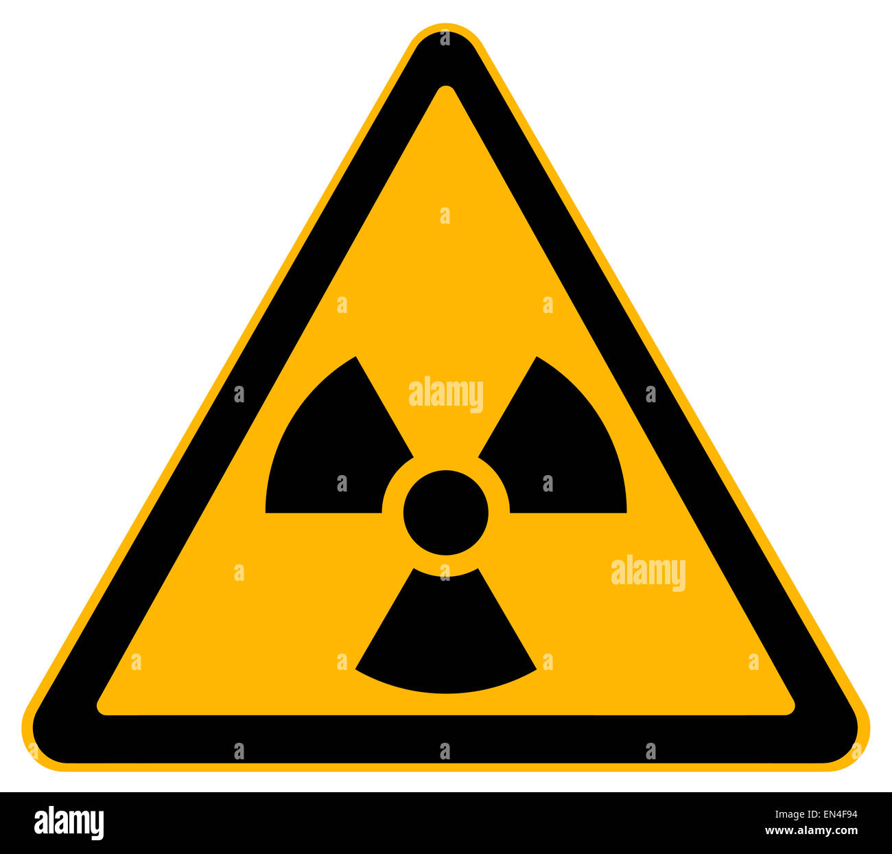 Yellow Triangle Nuclear Warning Sign Isolated on White Background. - Stock Image