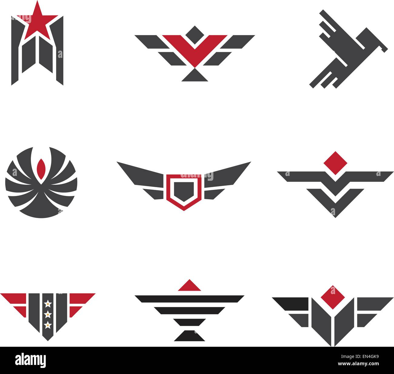 Army and military badges and strength symbols Stock Vector