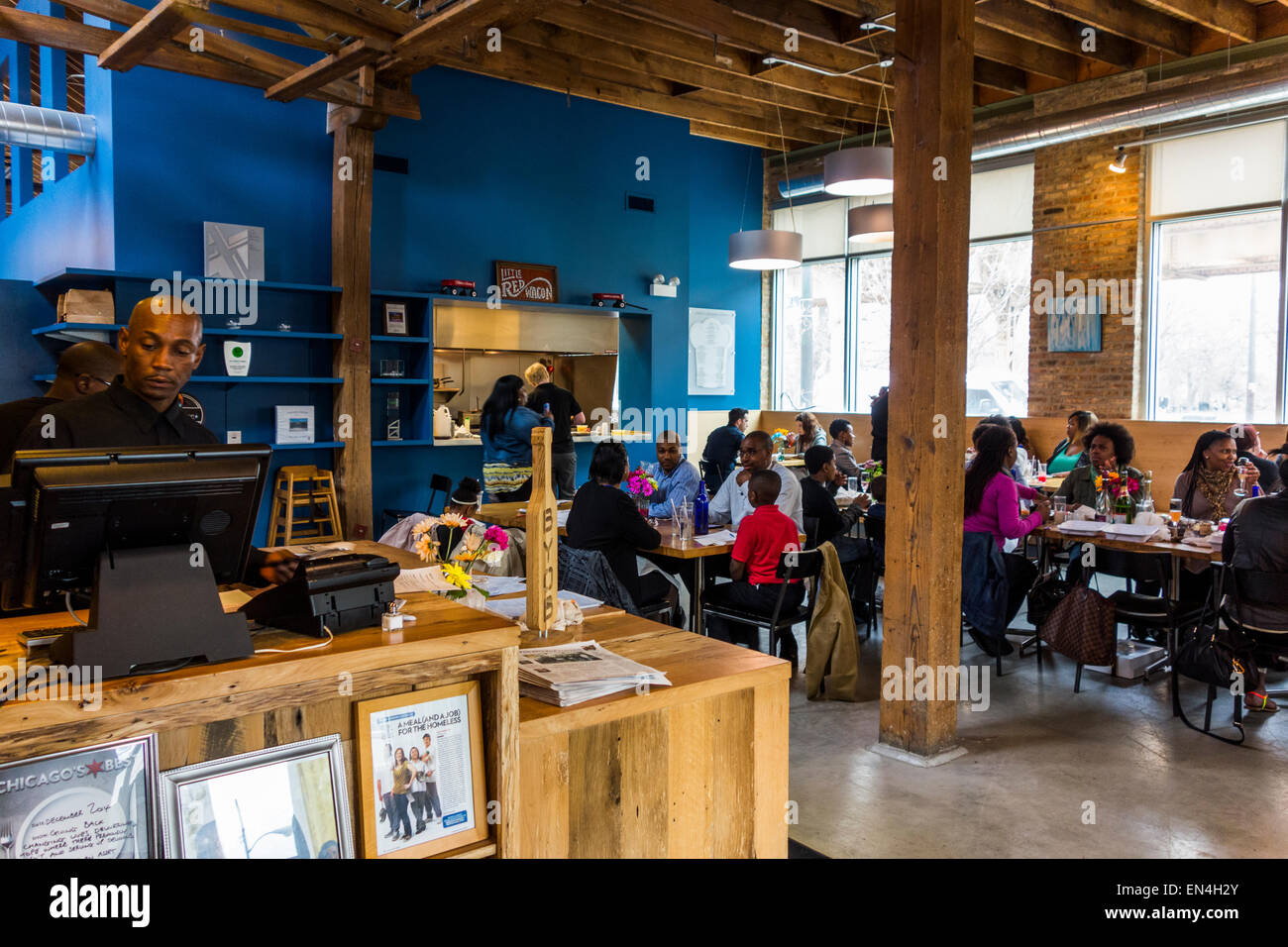 interior of dining space, Inspiration Kitchens cafe and restaurant, Garfield Park, Chicago, USA - Stock Image