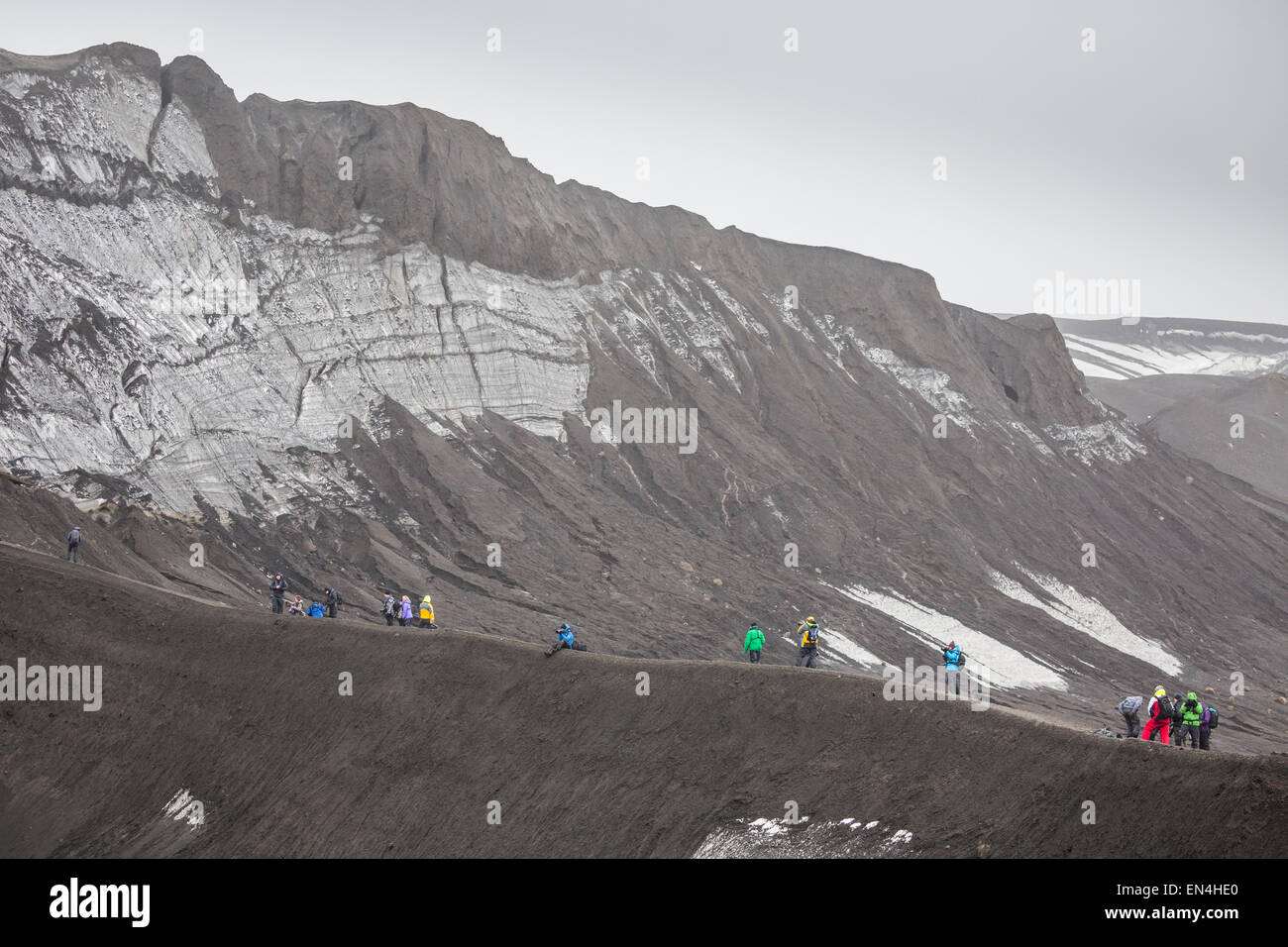 photographers on photo seminar expedition, Telefon Ridge, Telefon Bay, Deception Island, Antractica - Stock Image