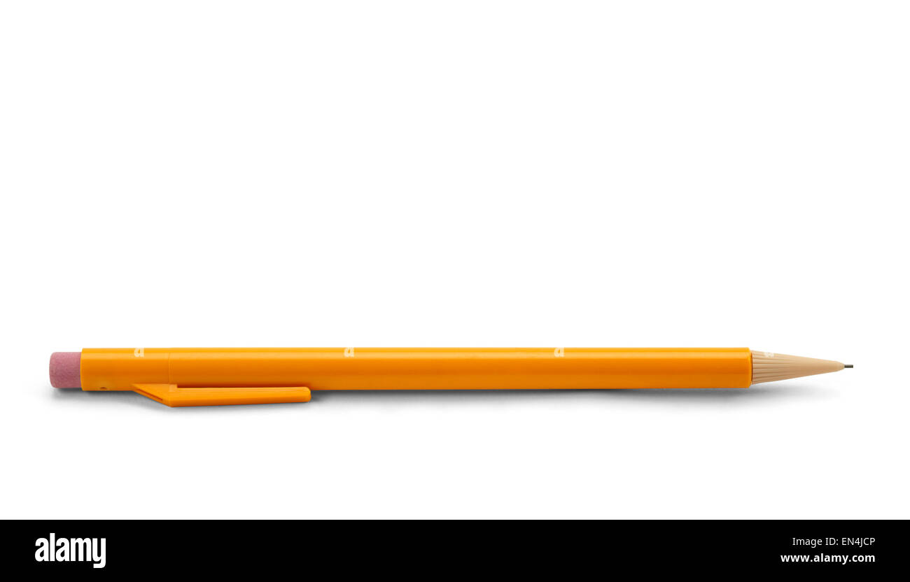 Yellow Plastic Mechanical Pencil Isolated on White Background. - Stock Image