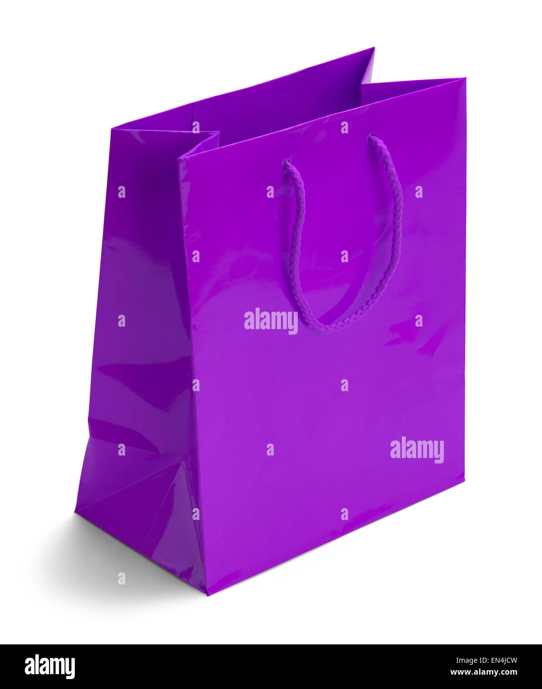 Shiny Purple Retail Shopping Bag Isolated on a White Background. - Stock Image