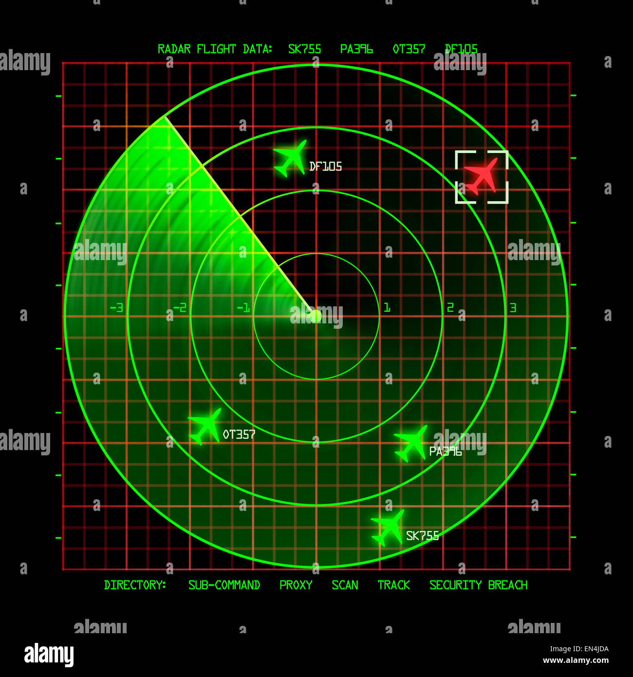 Airport Air Traffic Control Radar Screen with Planes on a Grid. - Stock Image