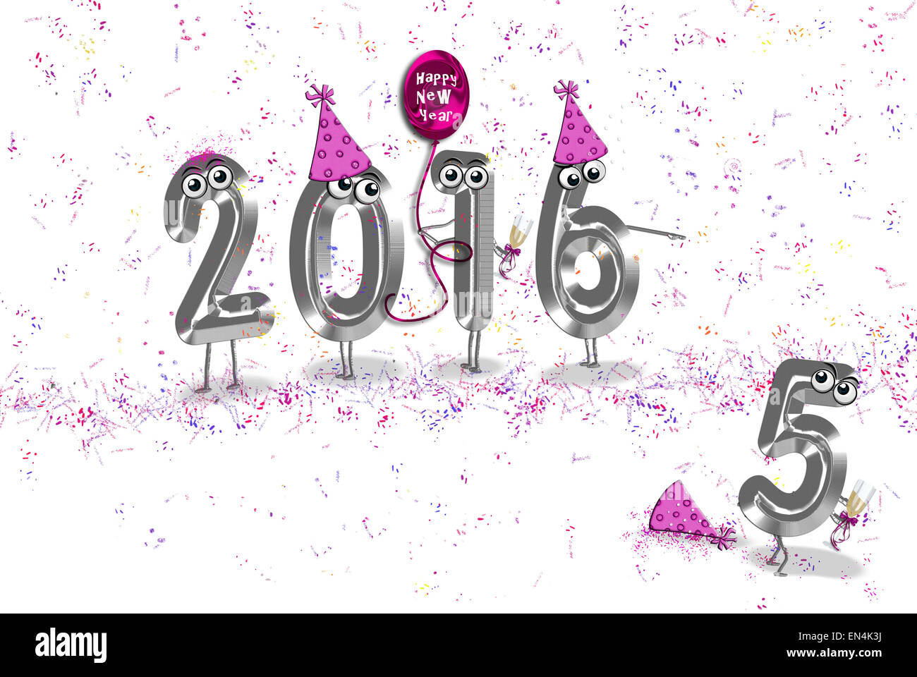 Humorous Happy New Year for 2016 with party hats, balloon and Stock ...