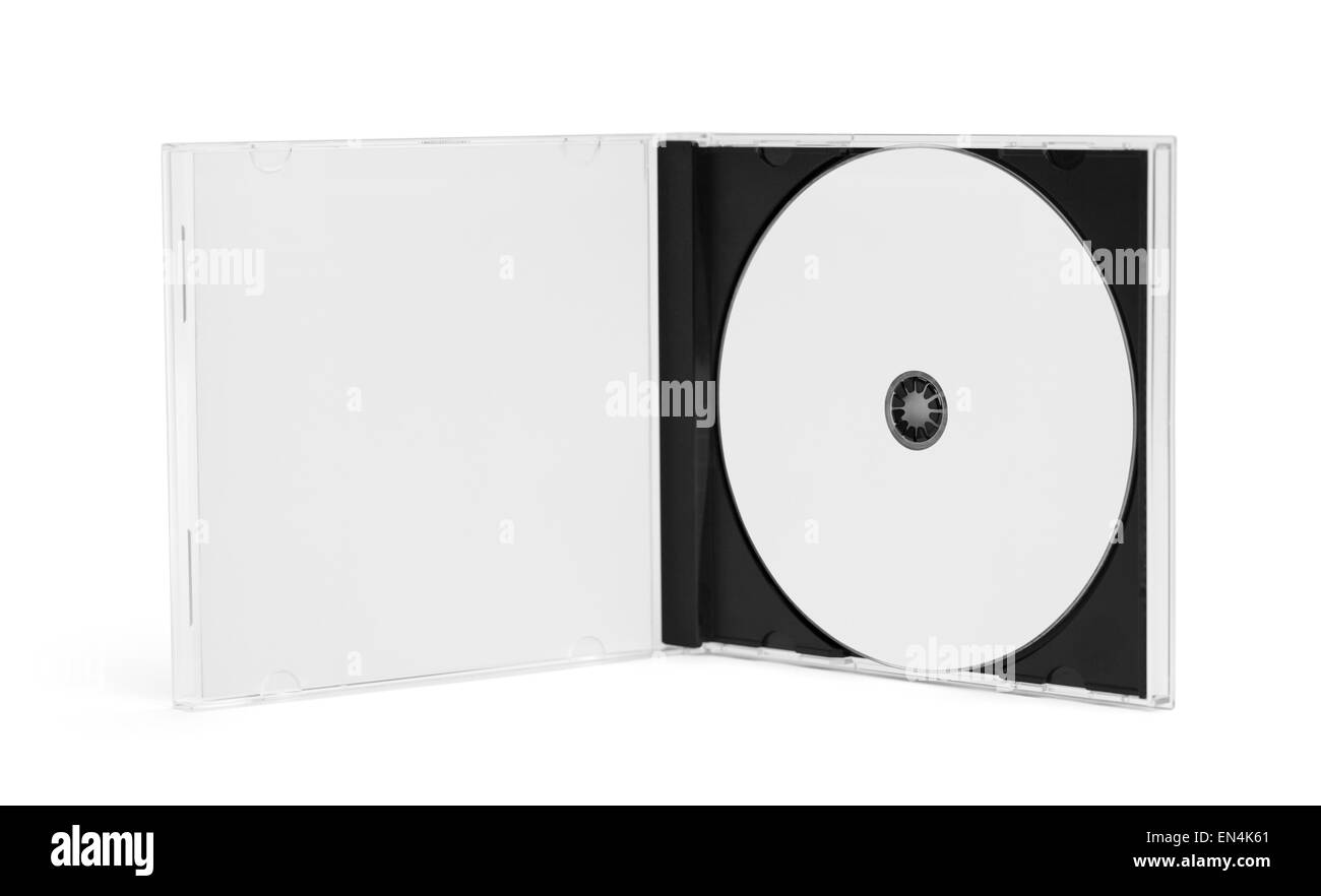 Open CD Case with Disc and Copy Space Isolated on White Background. - Stock Image