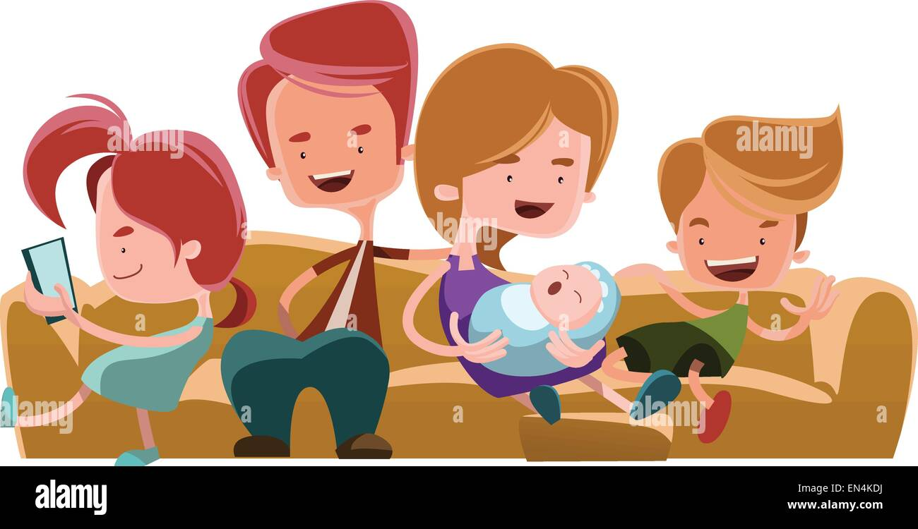 Awe Inspiring Family Sitting On Couch Sofa Vector Illustration Cartoon Bralicious Painted Fabric Chair Ideas Braliciousco