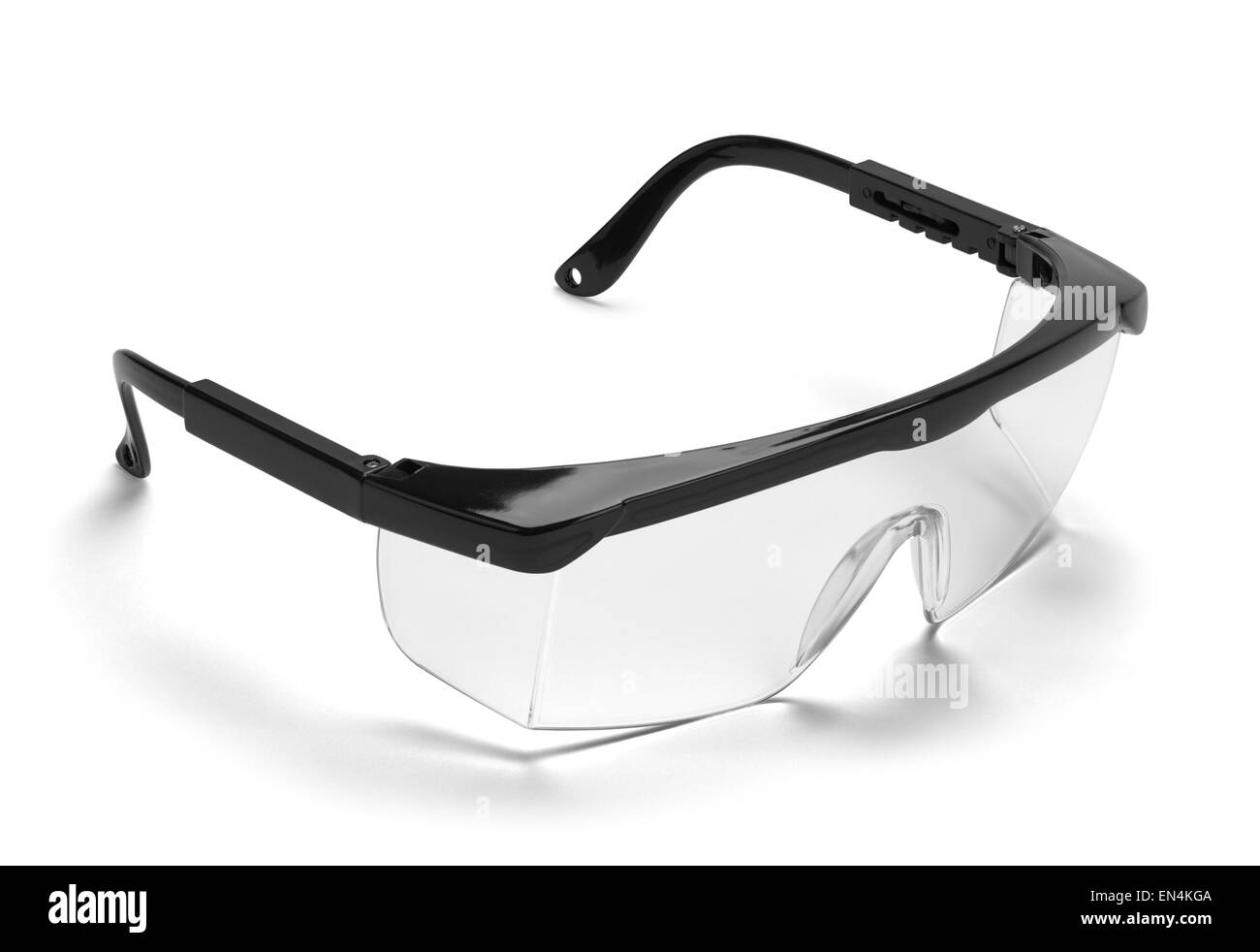 Black Plastic Protective Work Glasses Isolated on a White Background. - Stock Image