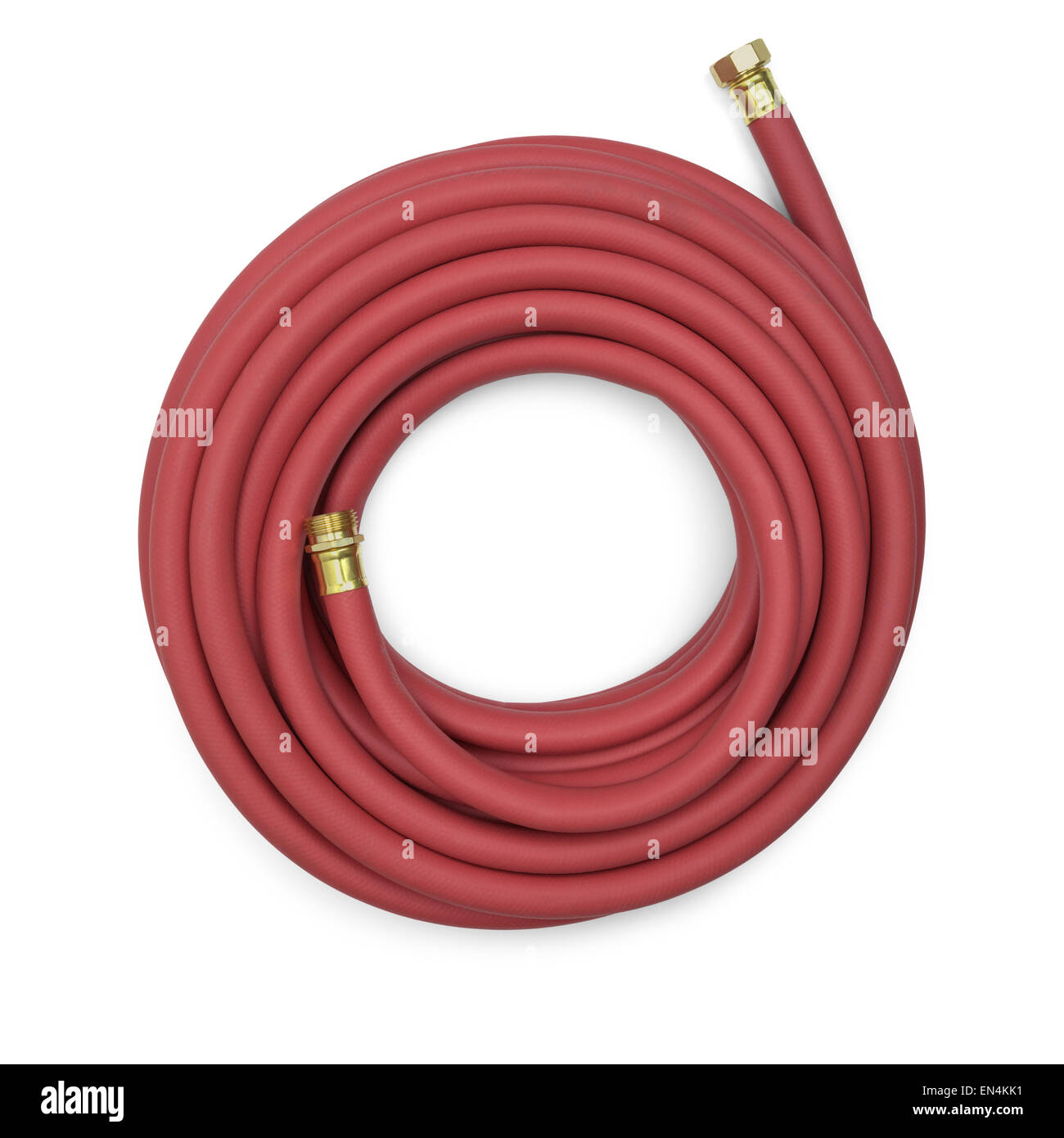 Top View Of A Red Garden Hose Isolated On A White Background.