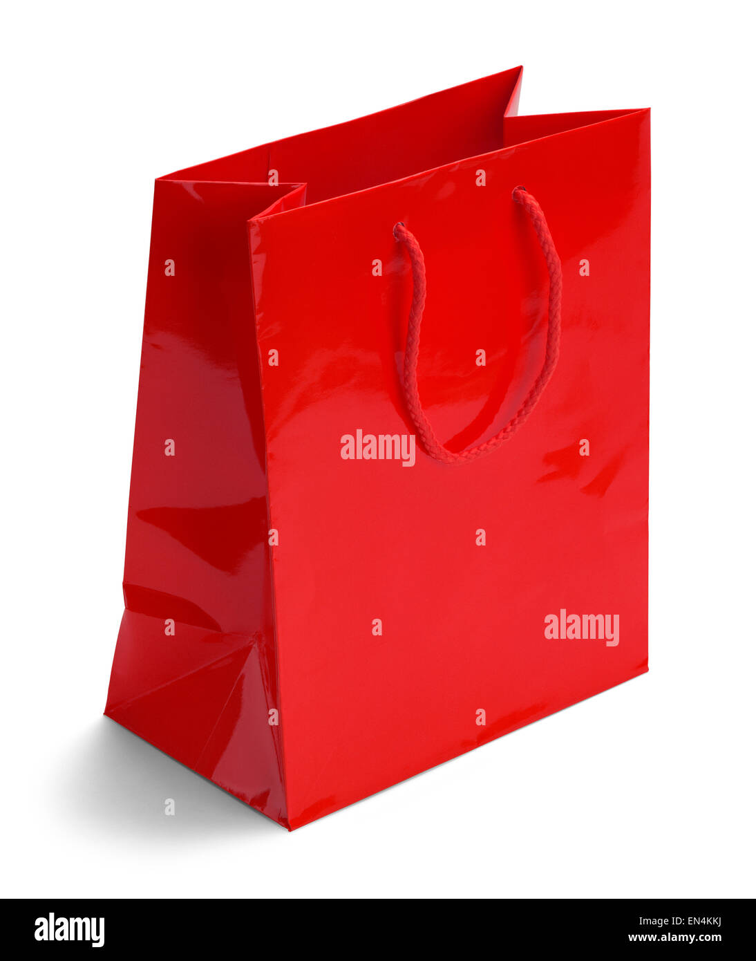 Shiny Red Retail Shopping Bag Isolated on a White Background. - Stock Image