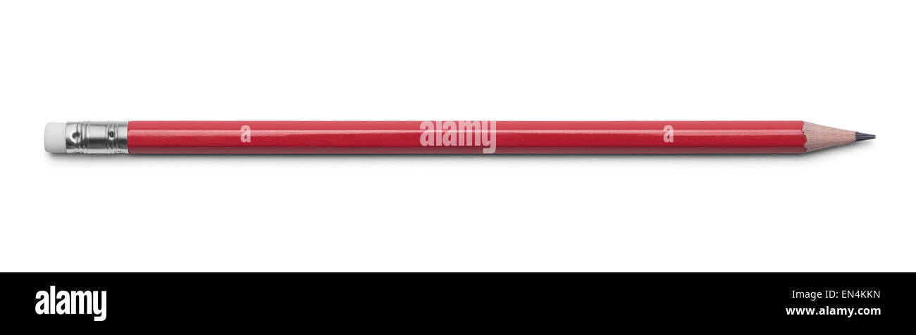 Red Number 2 Pencil Isolated on a White Background. - Stock Image
