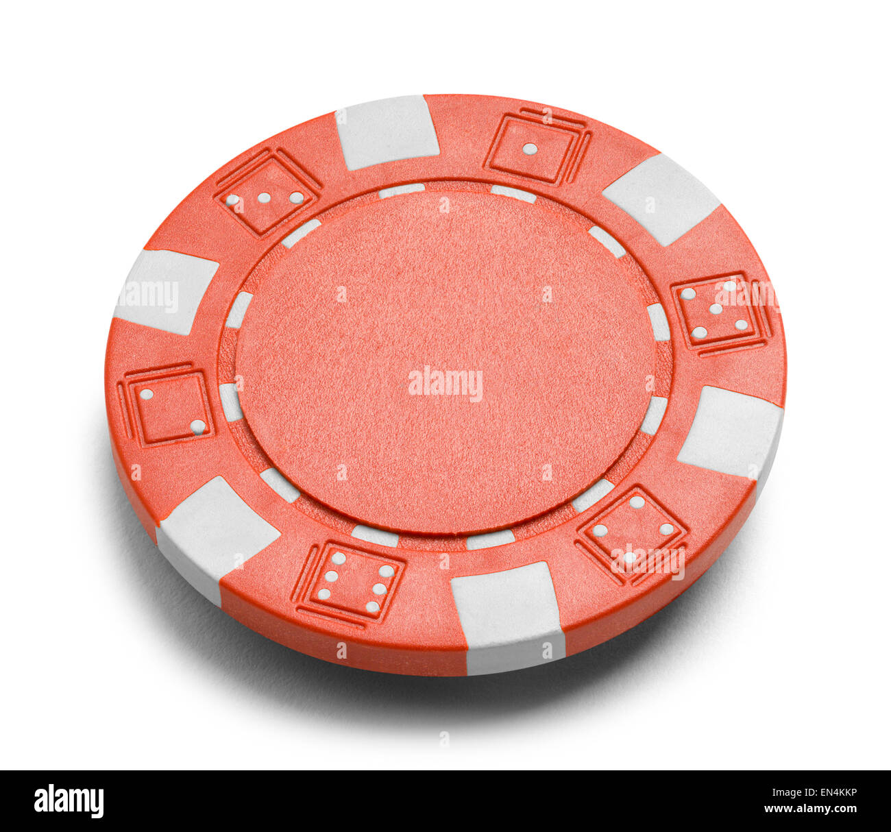 Red Poker Chip with Copy Space Isolated on a White Background. - Stock Image