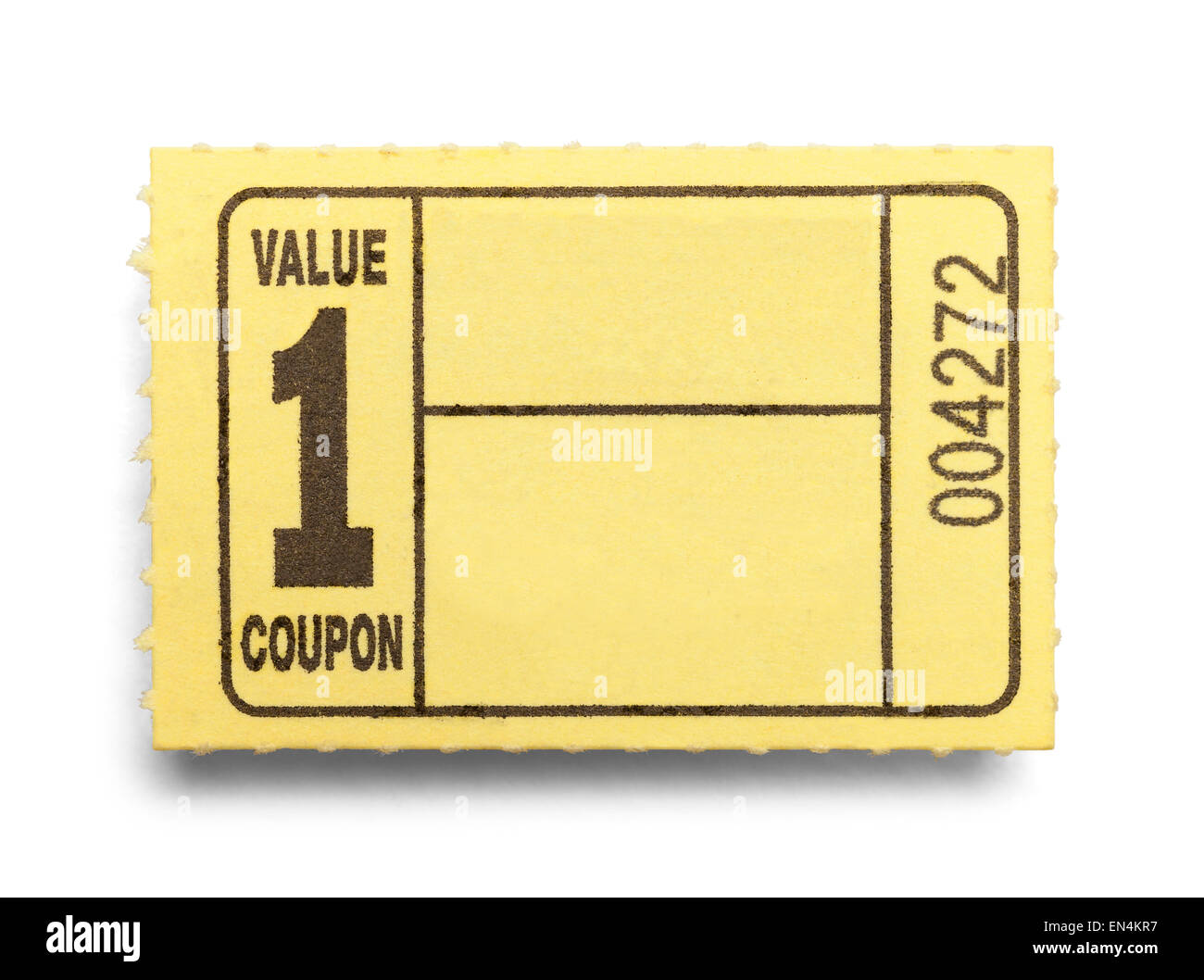 Small Yellow Coupon Ticket Isolated on a White Background. - Stock Image