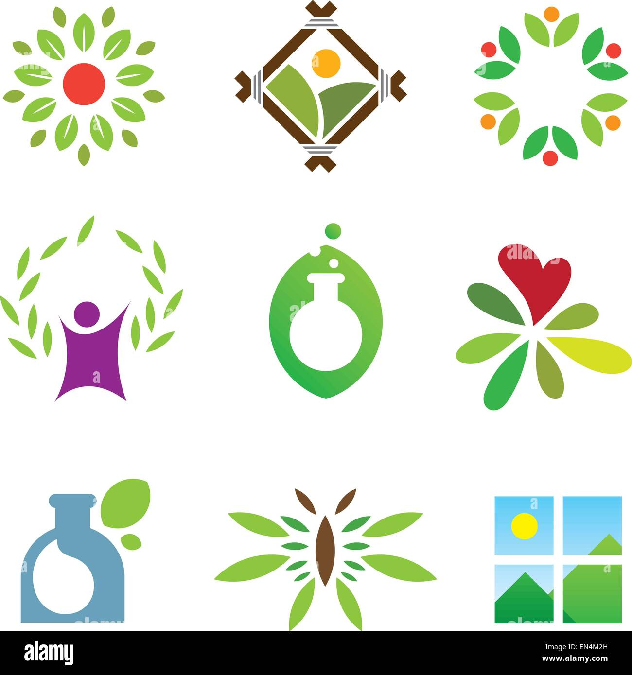 Olympic green success nature leaf landscape healthy care logo icon - Stock Vector
