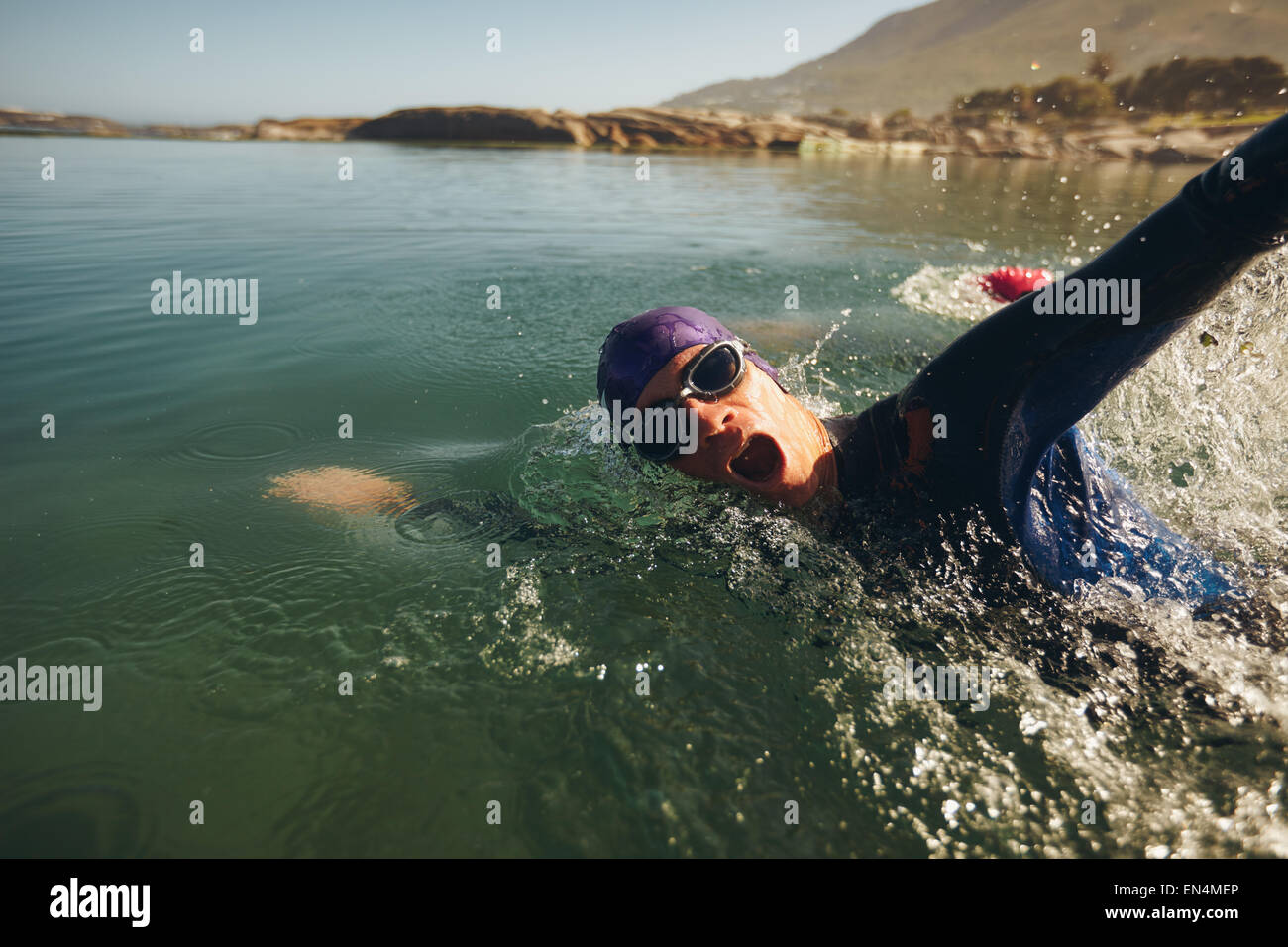 Open water swimming. Male athlete swimming in lake. Triathlon long distance swimming. - Stock Image