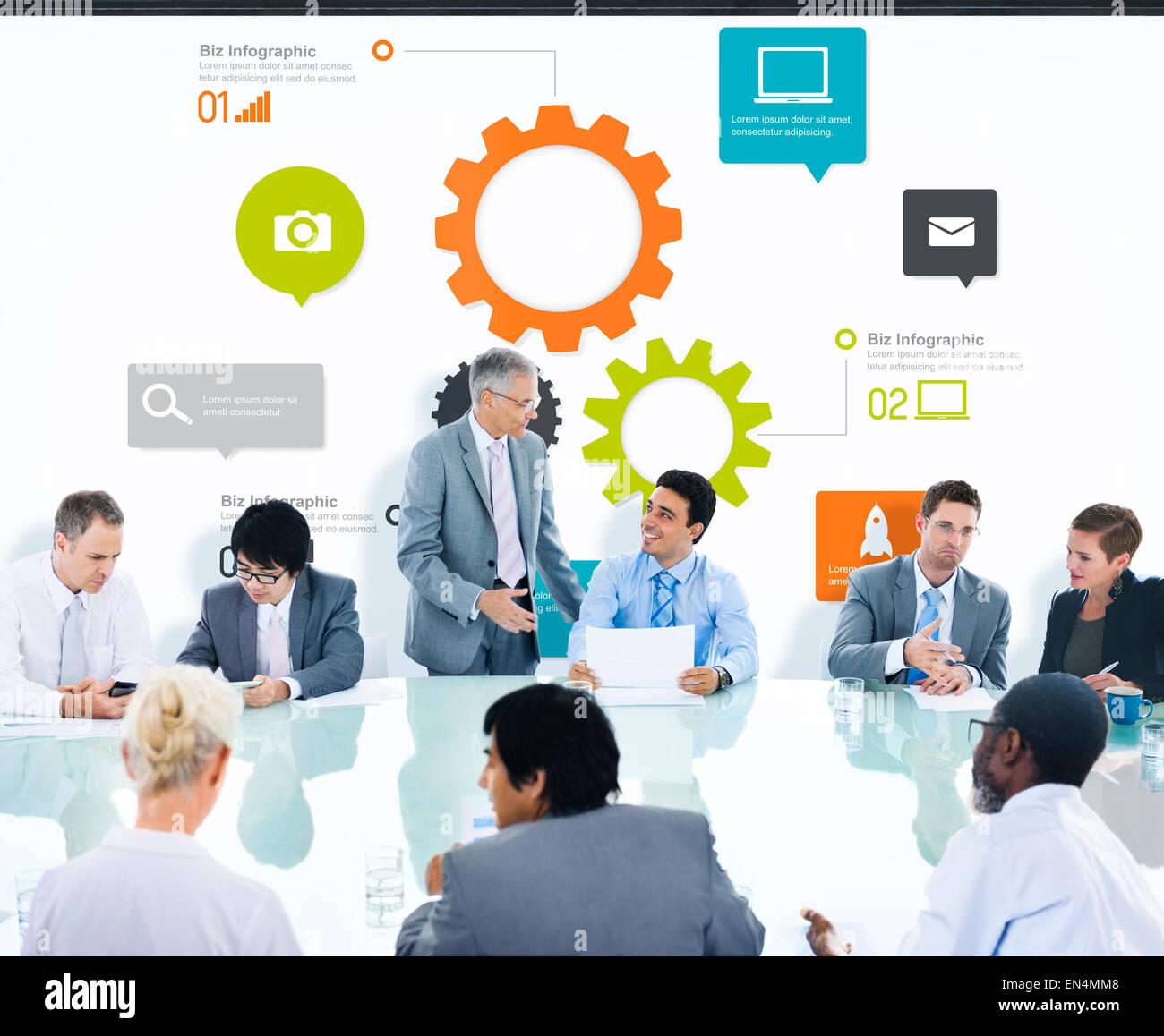 businessman having a presentation about teamwork stock photo