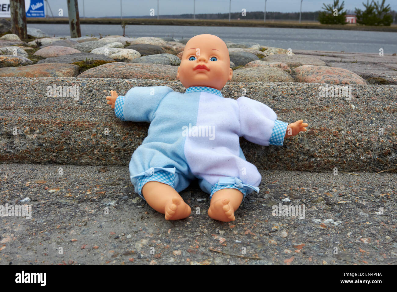 lost doll outdoors, Finland - Stock Image