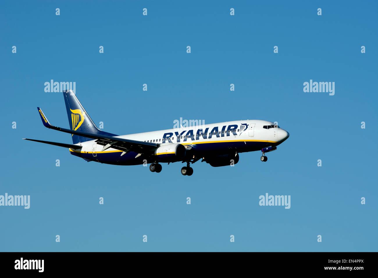 Ryanair Boeing 737-8AS (EI-EFR) landing at Birmingham Airport, UK - Stock Image