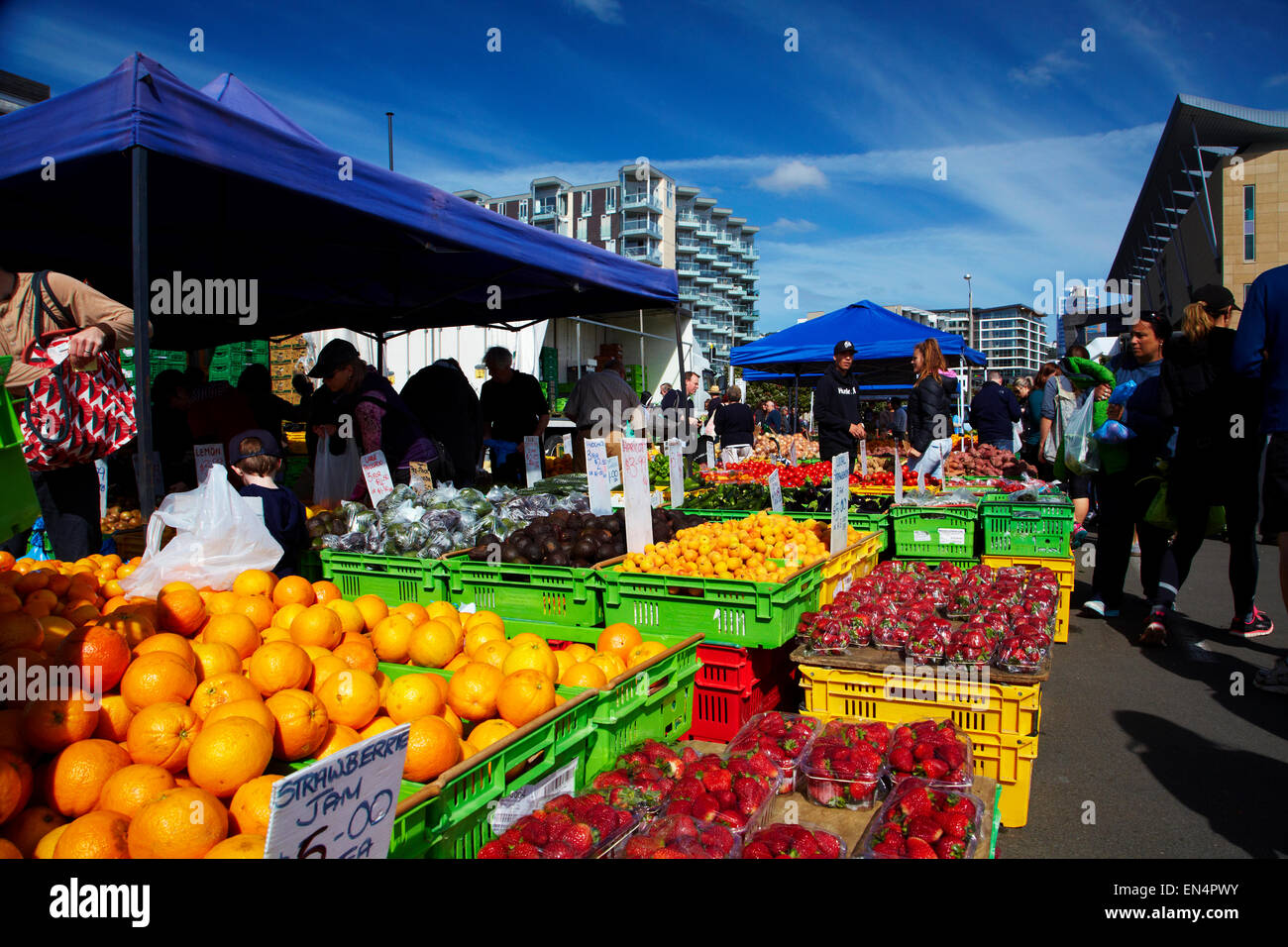 Fruit and vegetables at Harbourside Market, Wellington, North Island, New Zealand - Stock Image