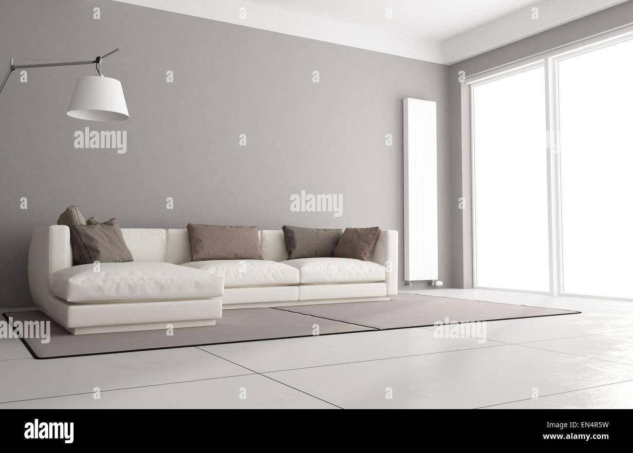 Minimalist living room with elegant sofa, floor lamp and large ...