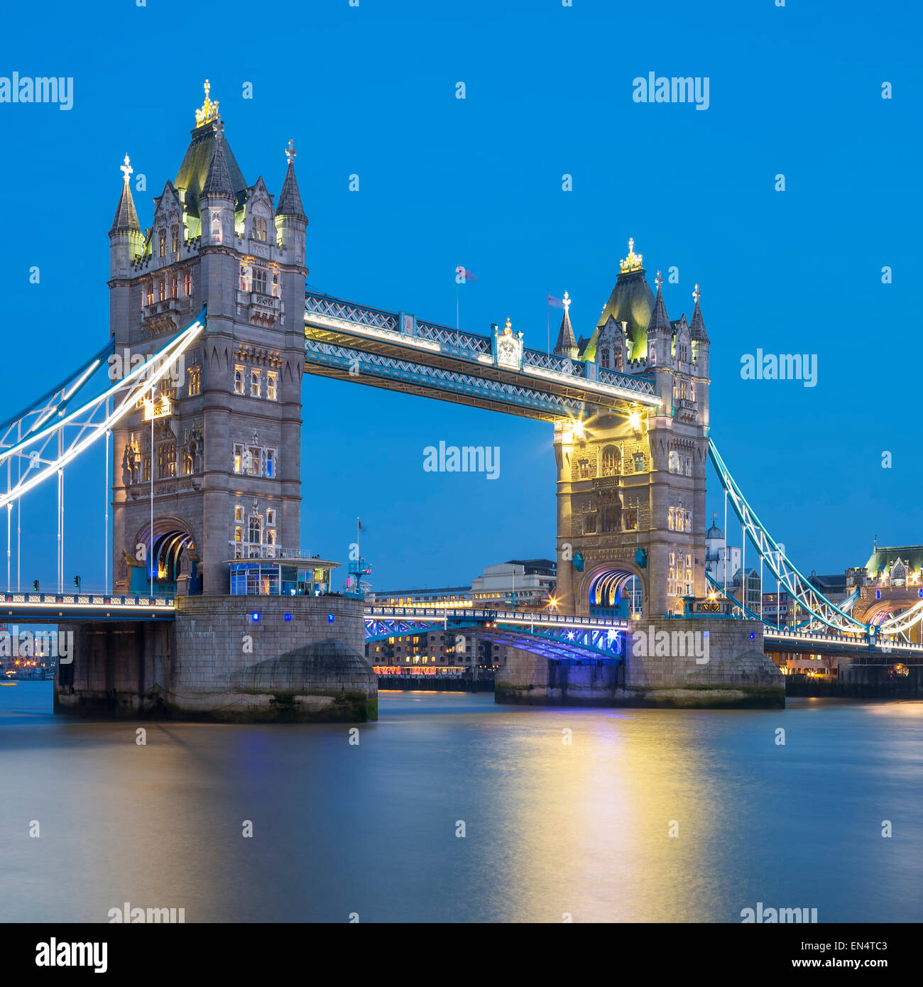 Famous Tower Bridge in the evening, London, England - Stock Image