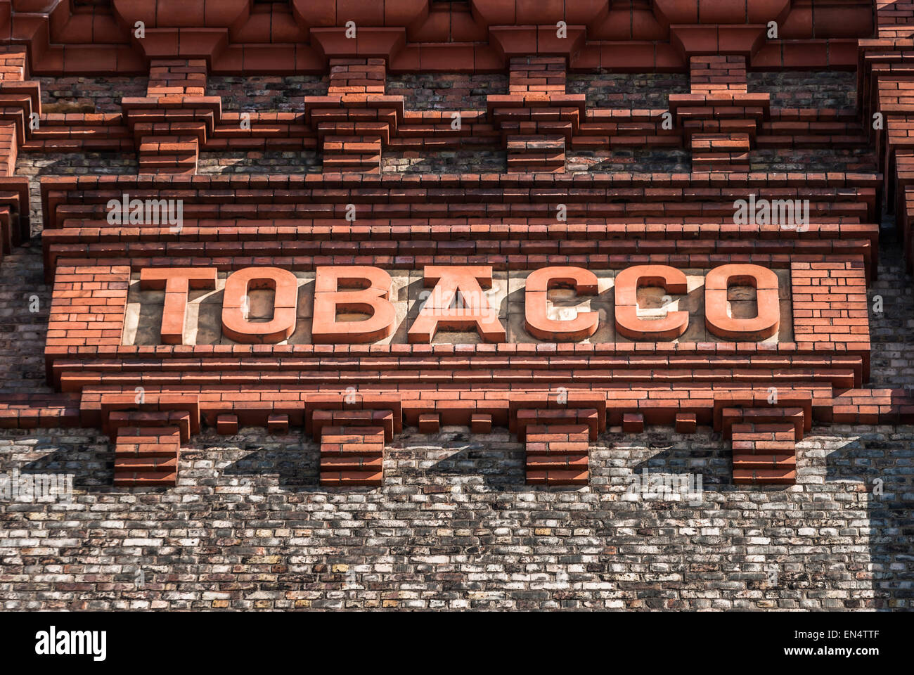 Victorian brick Tobacco sign at the Stanley Dock, Liverpool. Stock Photo