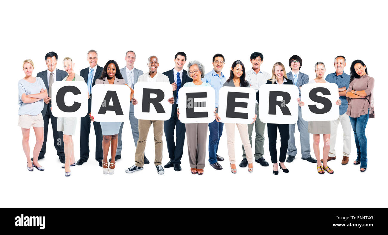 Multi-Ethnic Group Of Diverse People Holding Letters That Form Careers - Stock Image