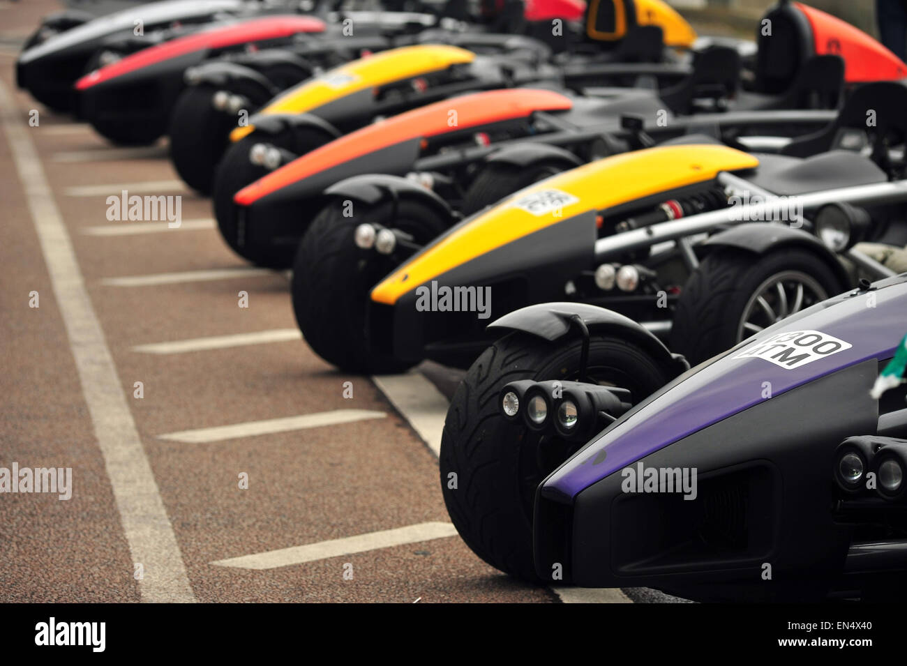 A line of parked Ariel Atoms on at a car show along Madeira drive in Brighton. - Stock Image